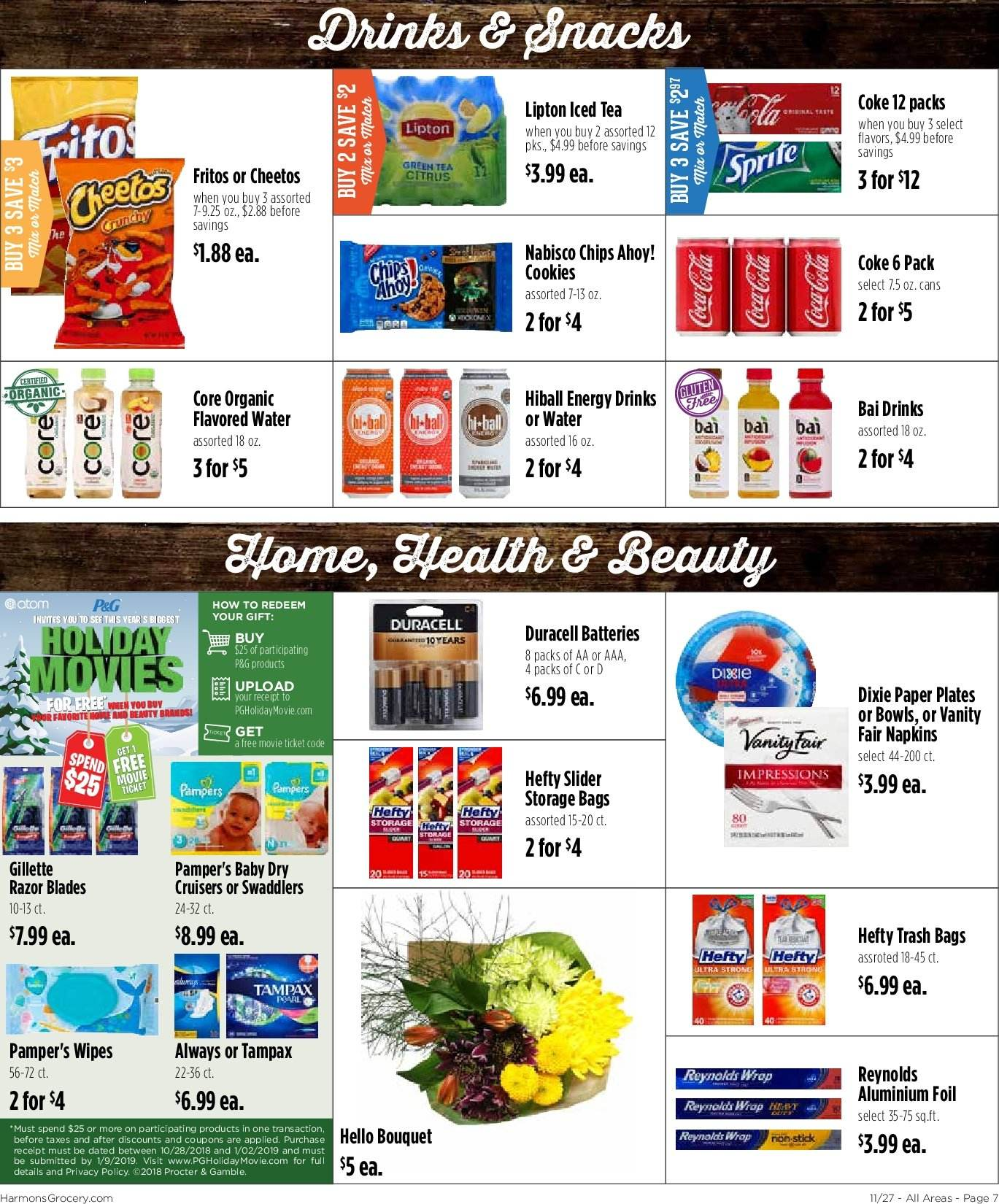 Harmons Flyer - 11.27.2018 - 12.03.2018 - Sales products - aluminium foil, bag, battery, bowl, cookies, duracell, fritos, gillette, green tea, razor, tampax, tea, trash bag, wipes, hefty, plate, cheetos, organic, chips, flavored water. Page 7.