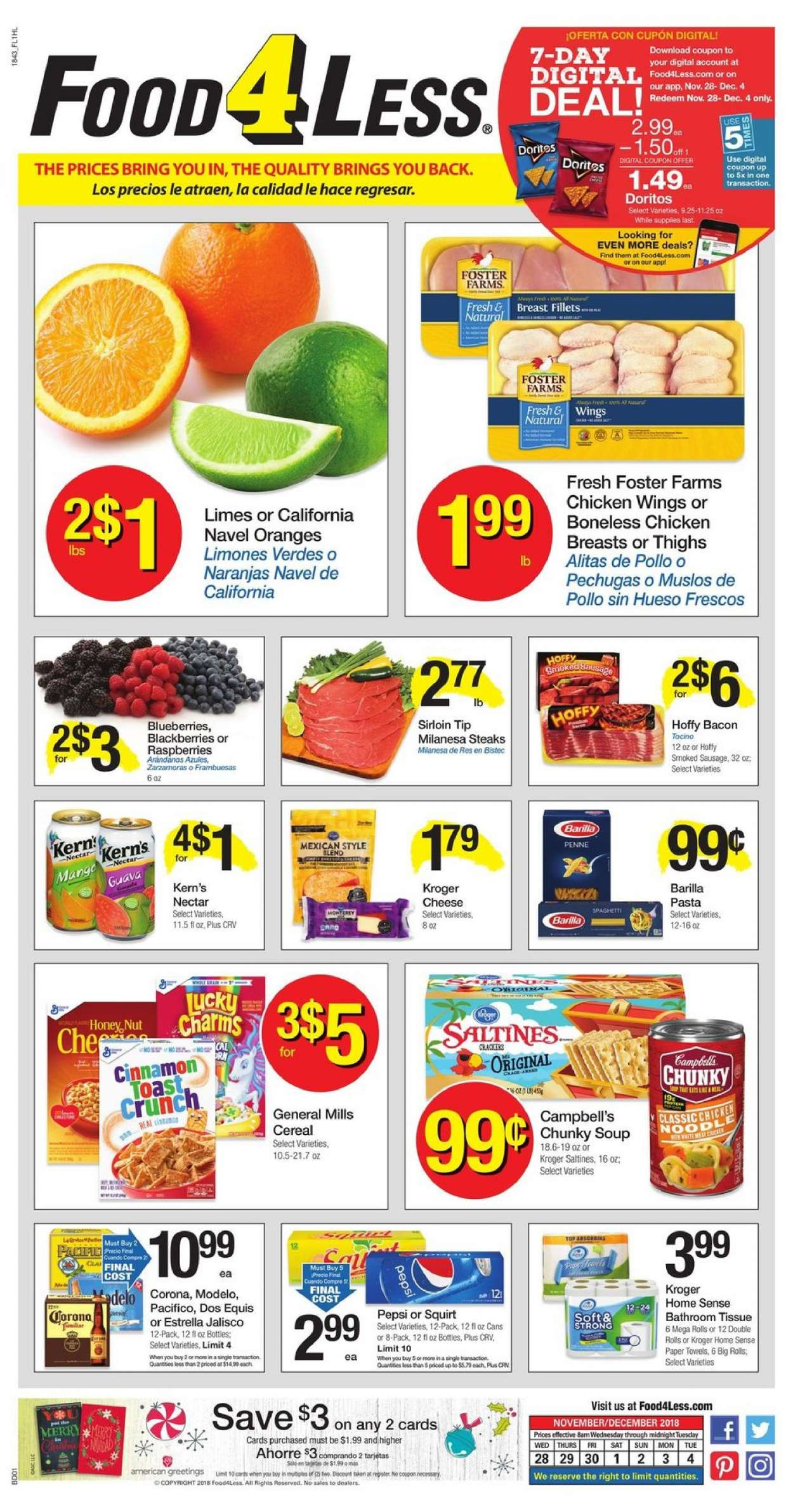 Food 4 Less Flyer - 11.28.2018 - 12.04.2018 - Sales products - Corona, Dos Equis, blackberries, blueberries, limes, raspberries, orange, rolls, Campbell's, bacon, sausage, smoked sausage, Doritos, cereals, pasta, Pepsi, chicken, chicken breast, chicken wings, paper towel. Page 1.