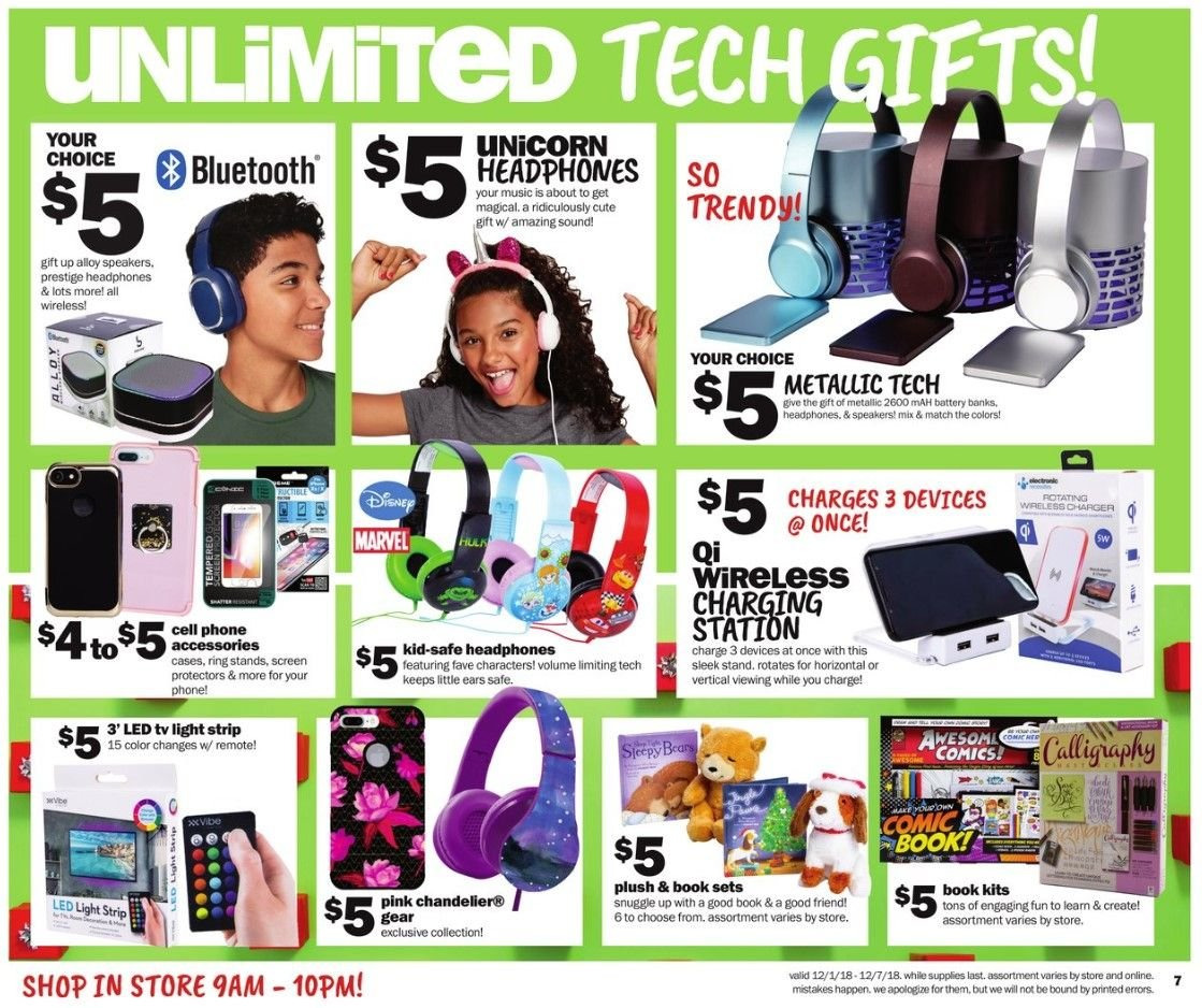 Five Below Flyer - 12.01.2018 - 12.07.2018 - Sales products - accessories, battery, led light, led tv, light strip, mah, ring, safe, snuggle, speaker, stand, chandelier. Page 7.