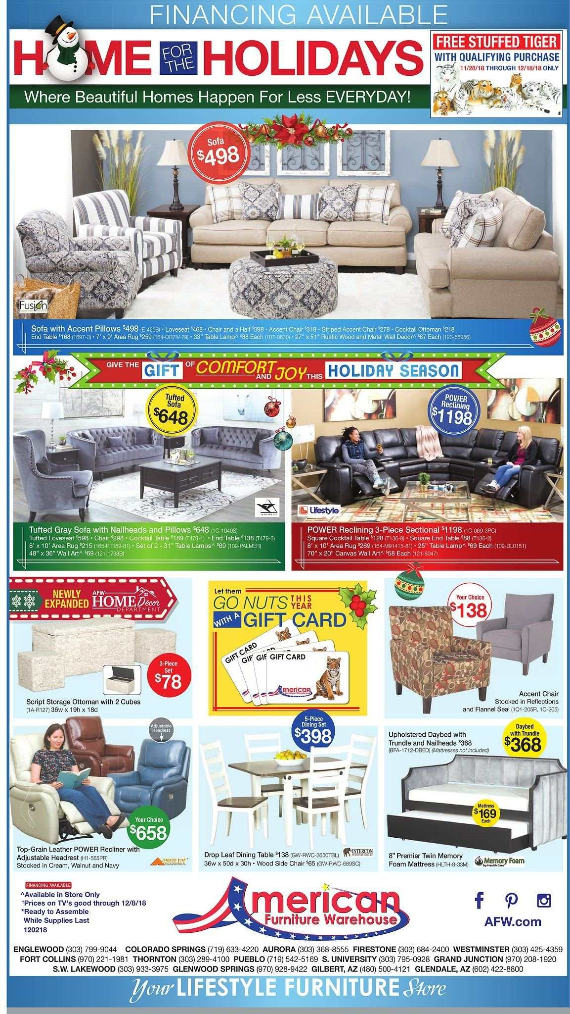 American Furniture Warehouse Flyer  - 12.02.2018 - 12.08.2018. Page 1.