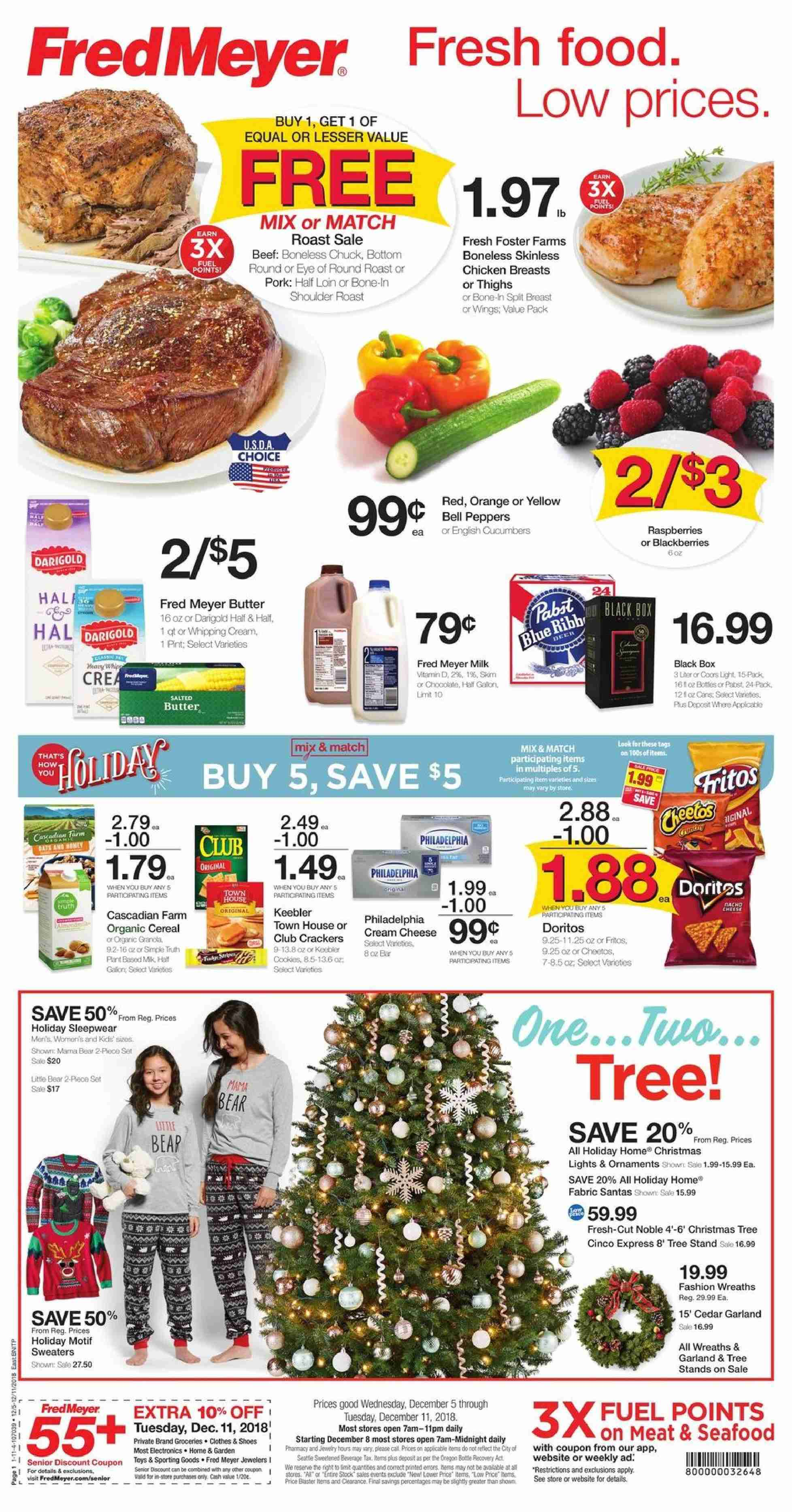 Fred Meyer Flyer - 12.05.2018 - 12.11.2018 - Sales products - orange, seafood, cream cheese, cheese, milk, butter, whipped cream, cookies, Doritos, Fritos, chicken, chicken breast, beef meat, eye of round, pork meat, tree stand, box, toys, fuel, garland, ornament. Page 1.