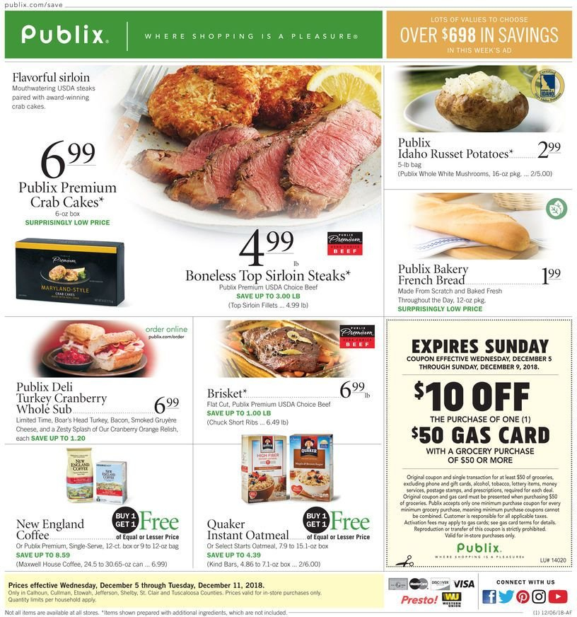 Publix Flyer - 12.05.2018 - 12.11.2018 - Sales products - mushroom, orange, crab cakes, Quaker, bacon, gruyere, cheese, oatmeal, Maxwell House, coffee, alcohol, turkey, steak, sirloin steak. Page 1.