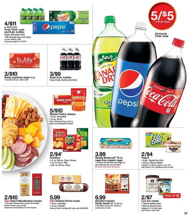 Target Flyer - 12.09.2018 - 12.15.2018 - Sales products - aquafina, archer, canada dry, coca-cola, frozen, gelato, magnum, sausage, sharp, yogurt, ice cream, pepsi, soda, water, cheese, sparkling water. Page 39.