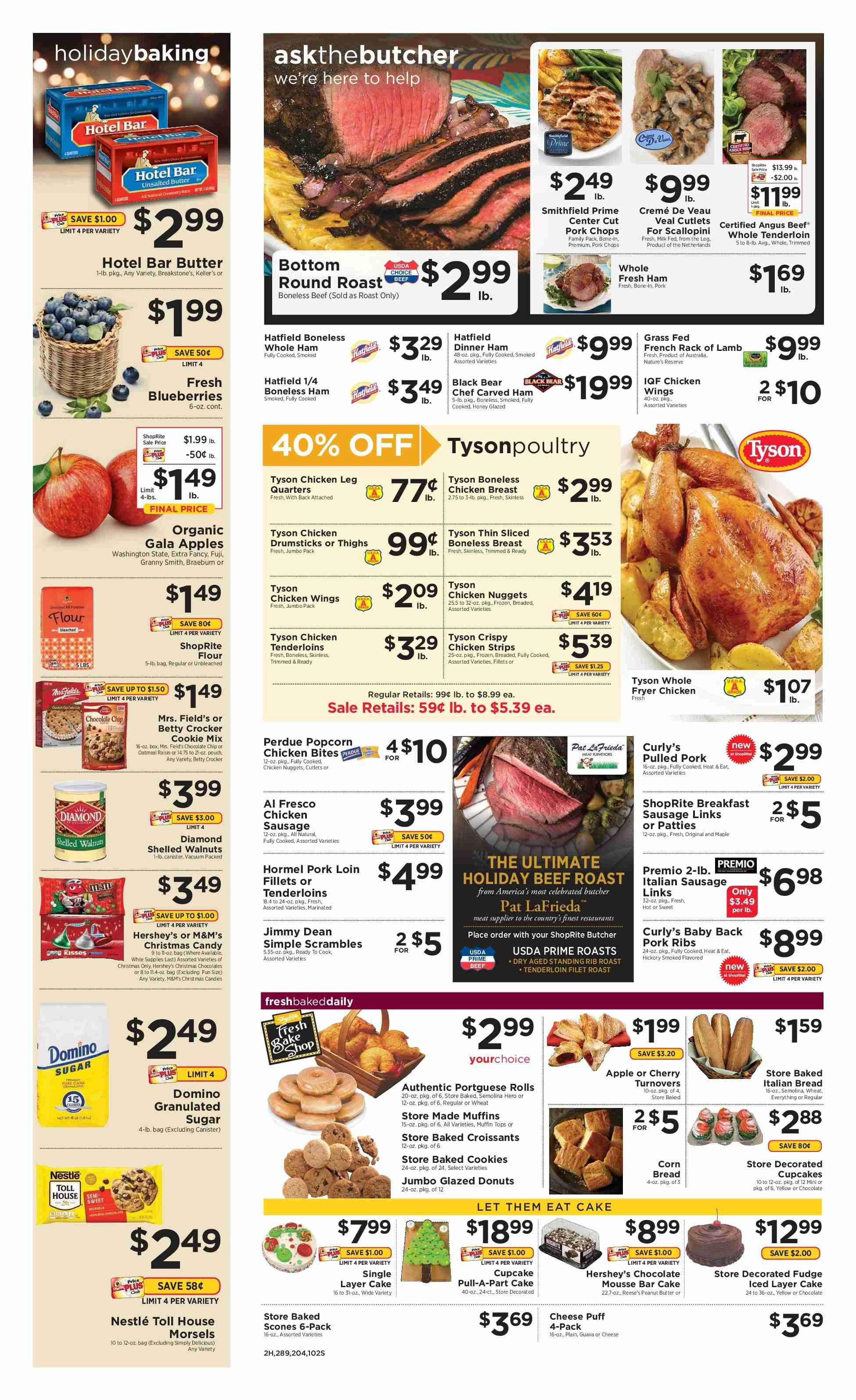 ShopRite Flyer - 12.09.2018 - 12.15.2018 - Sales products - apple, beef meat, beef roast, box, butter, crème, frozen, guava, milk, muffins, nestlé, sausage, semolina, vacuum, veal cutlets, veal meat, walnuts, honey, pork chops, pork meat, chicken, peanuts, oatmeal, chocolate, tenderloin, cheese, cake, candy, nuggets, donuts. Page 2.