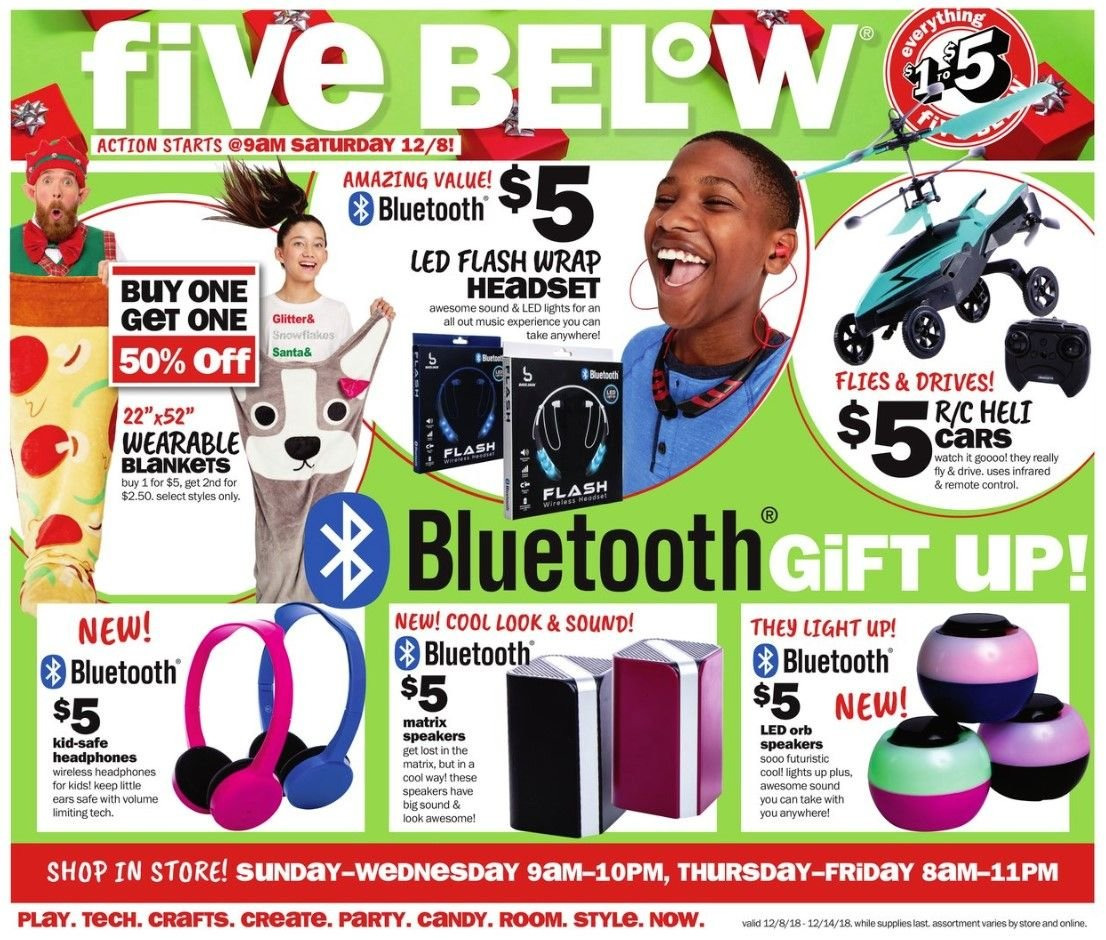 Five Below Flyer - 12.08.2018 - 12.14.2018 - Sales products - blanket, bluetooth, led light, remote control, safe, santa, speaker, watch, wrap, candy. Page 1.