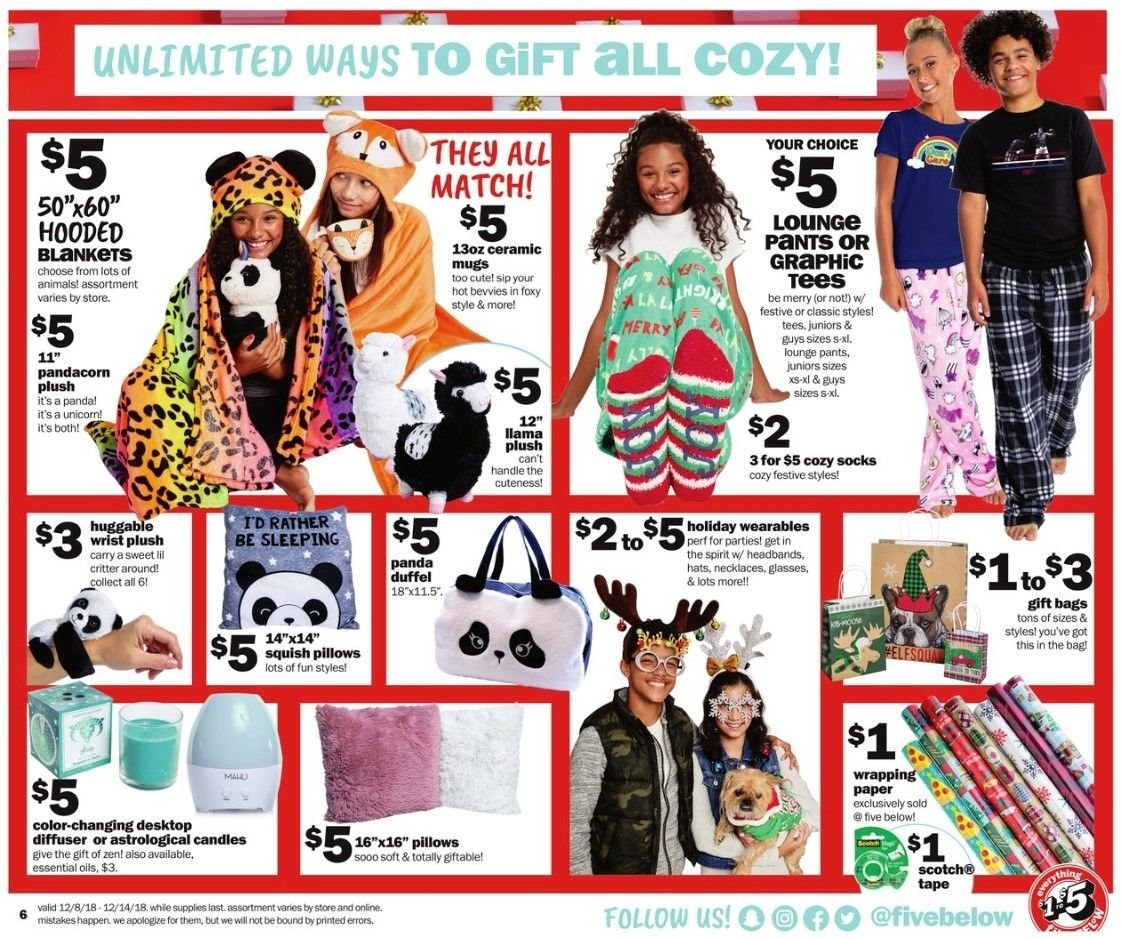 Five Below Flyer - 12.08.2018 - 12.14.2018 - Sales products - bag, blanket, candle, diffuser, essential oil, glass, socks, tape, tee, handles, hat, pillow, pants, paper. Page 6.