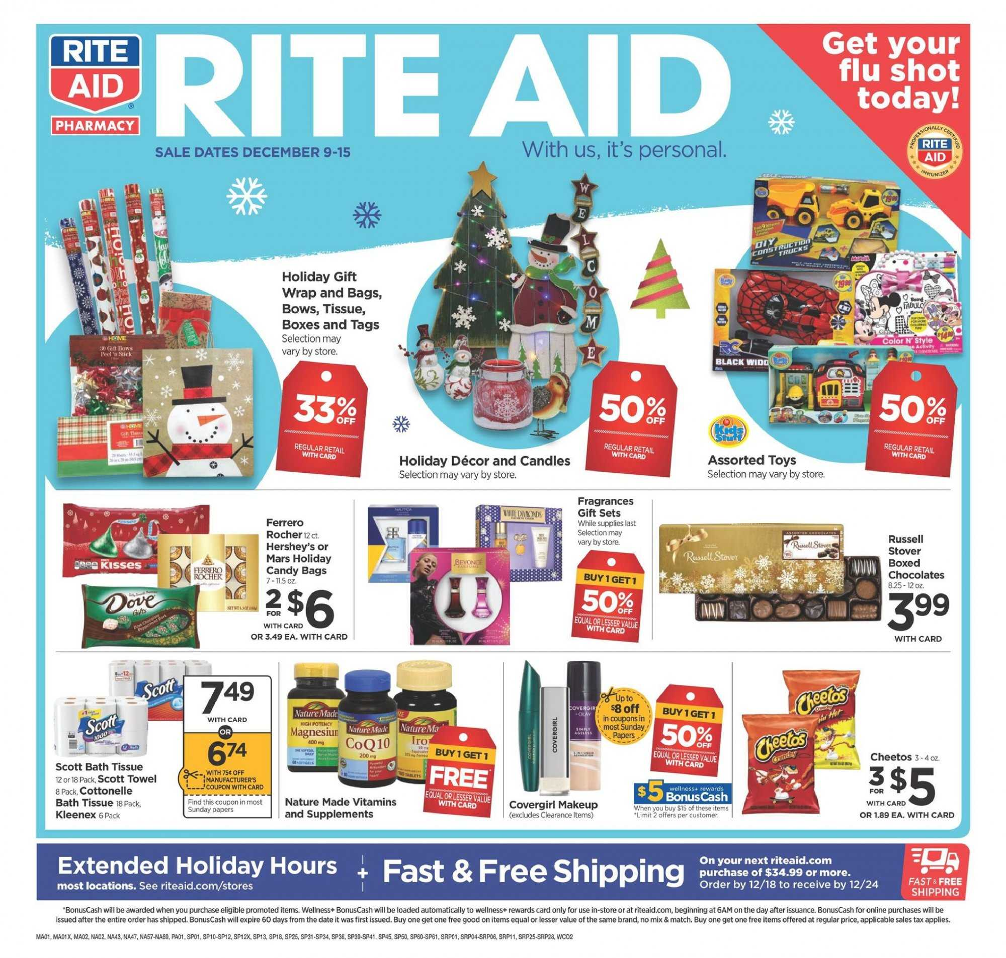 RITE AID Flyer - 12.09.2018 - 12.15.2018 - Sales products - bag, bath, bath tissue, box, candle, cottonelle, dates, kleenex, makeup, scott, stick, towel, cheetos, toys, candy. Page 1.