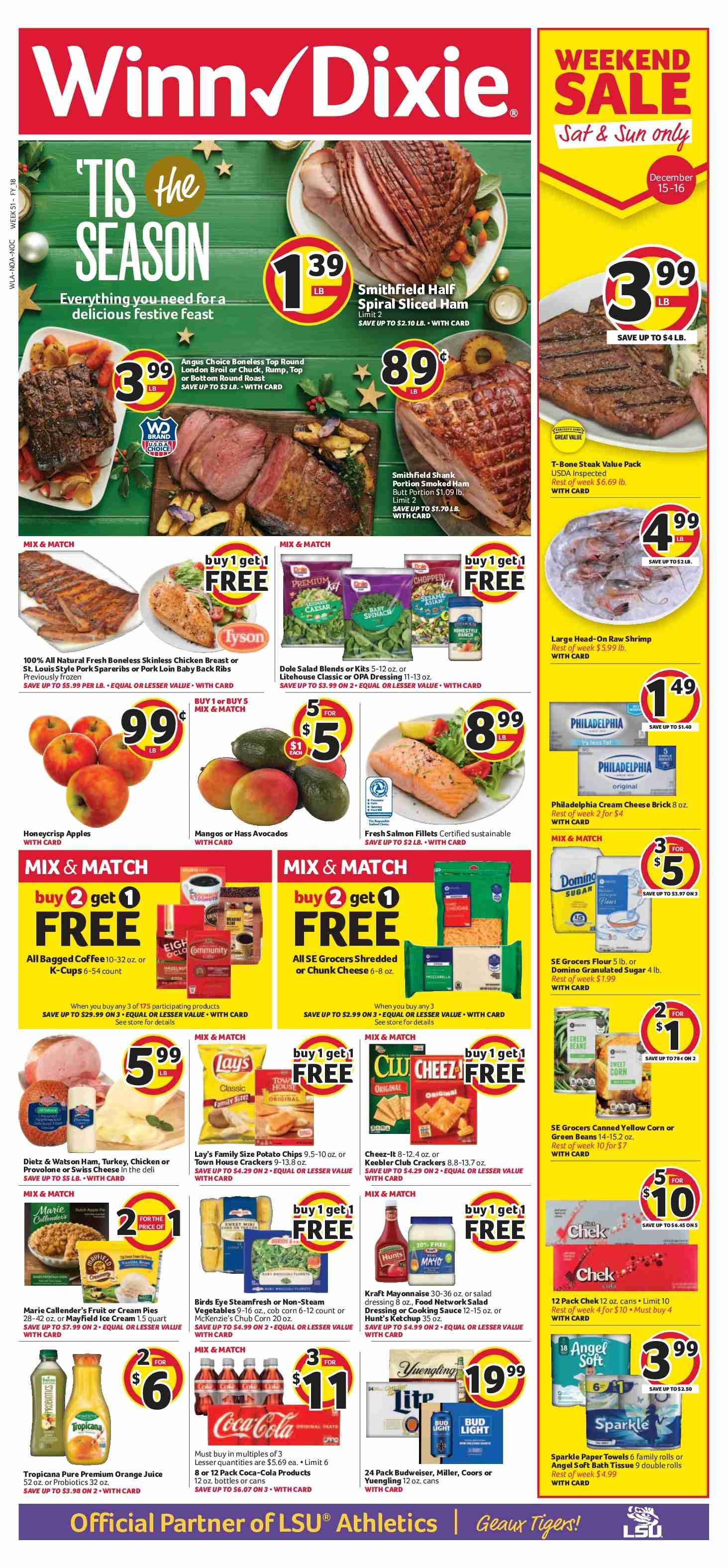 Winn Dixie Flyer - 12.12.2018 - 12.18.2018 - Sales products - angel, avocado, baby back pork ribs, bath, bath tissue, beans, budweiser, coca-cola, corn, crackers, cream cheese, cream pies, flour, frozen, granulated sugar, green beans, mango, mayonnaise, salad dressing, salmon, shrimp, sugar, swiss cheese, towel, turkey, ham, head, ice cream, philadelphia, pork loin, pork meat, potato chips, probiotics, provolone, chicken, chicken breast, paper towel, orange juice, chips, steak, cheese, juice, smoked ham, dressing, lay's. Page 1.