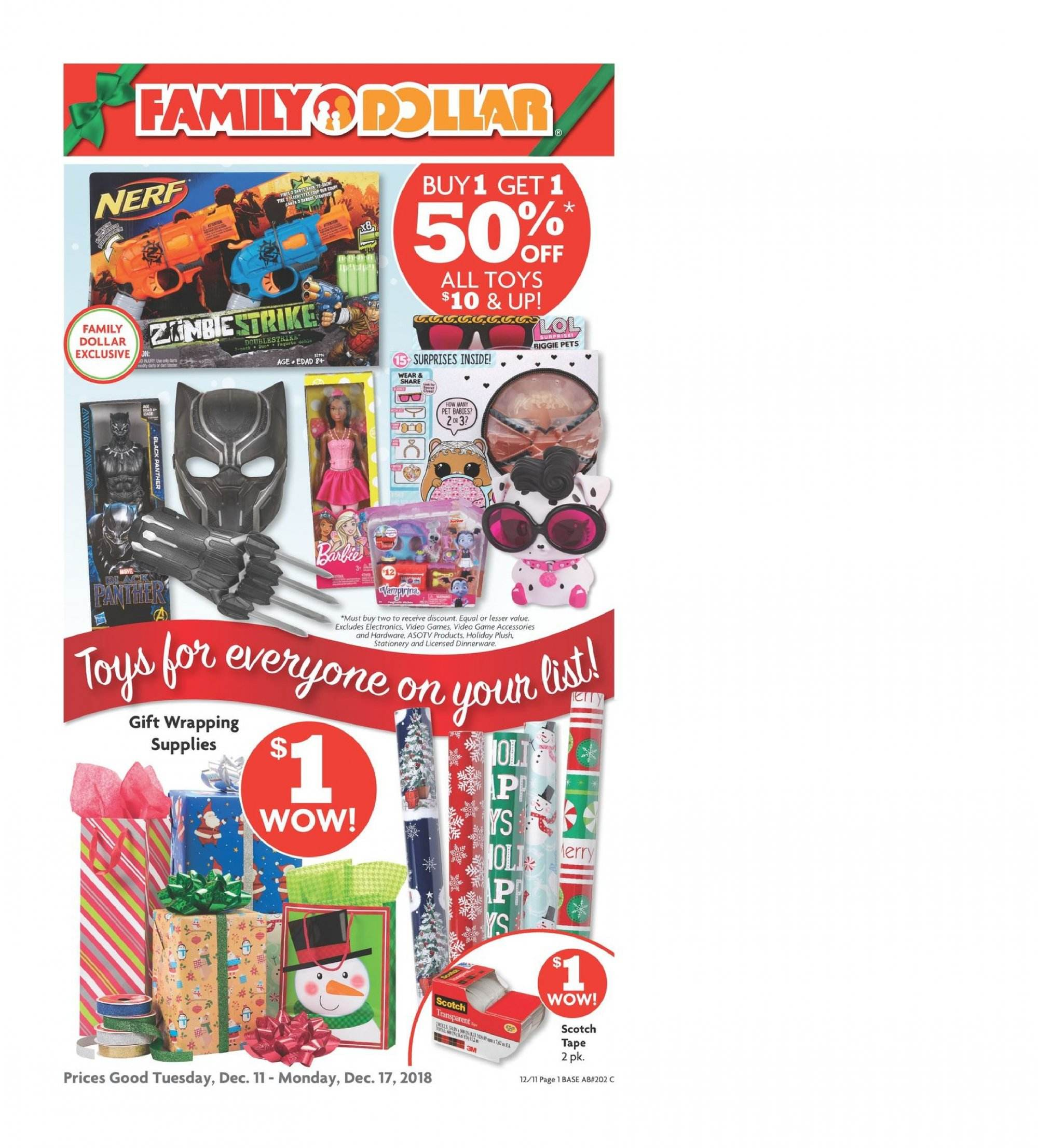 Family Dollar Flyer  - 12.11.2018 - 12.17.2018. Page 1.