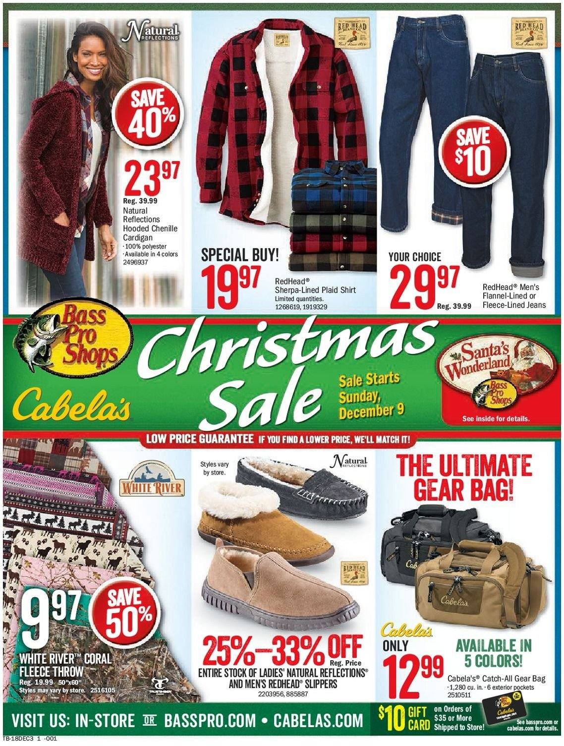Bass Pro Shops Flyer - 12.09.2018 - 12.24.2018 - Sales products - bag, cardigan, flannel, santa, sherpa, shirt, slippers, throw, jeans, gift card. Page 1.