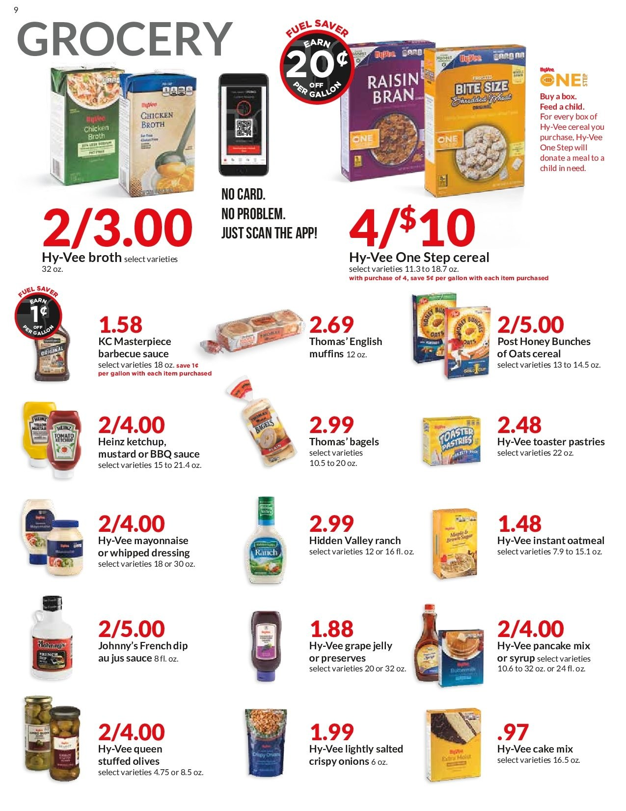 Hy-Vee Flyer - 12.12.2018 - 12.18.2018 - Sales products - bagels, barbecue sauce, cake mix, cereals, english muffins, grape jelly, grapes, mayonnaise, moist, muffins, mustard, honey, ketchup, chicken, chicken broth, pancake mix, oatmeal, oats, olives, onion, cake, dressing, cereal, toaster. Page 9.