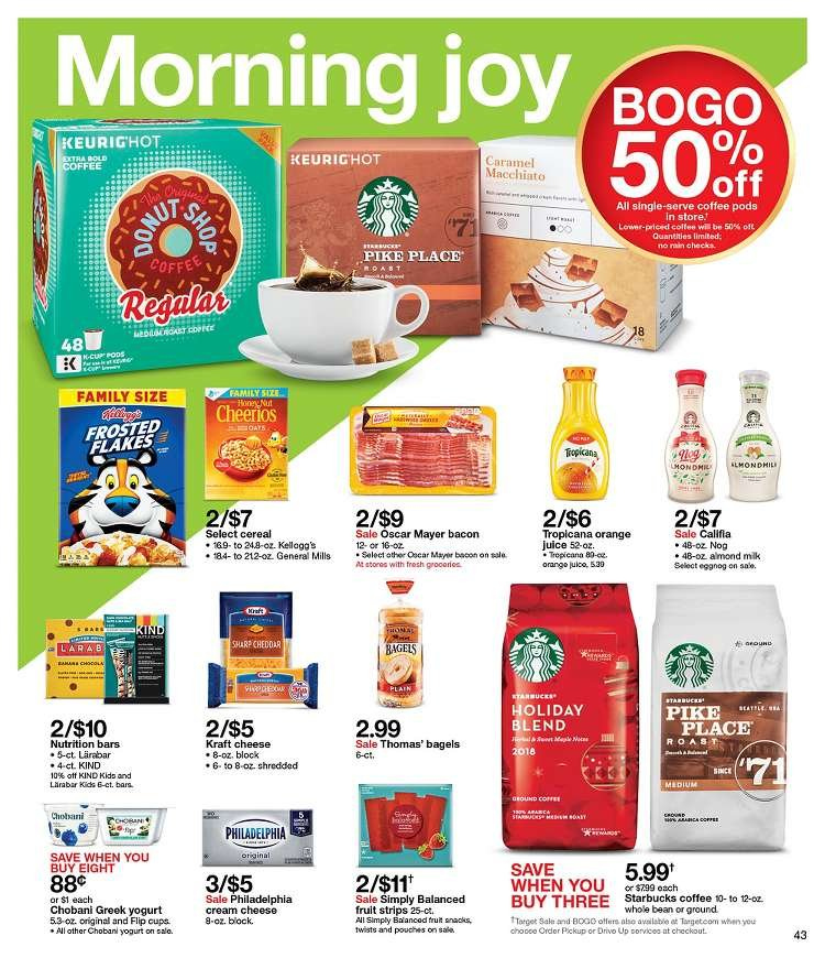 Target Flyer - 12.16.2018 - 12.22.2018 - Sales products - bacon, bagels, caramel, cereals, coffee, coffee pods, cream cheese, eggnog, greek yogurt, sharp, yogurt, philadelphia, pike, cheddar, cheerios, nutrition bars, cheese, cereal. Page 43.