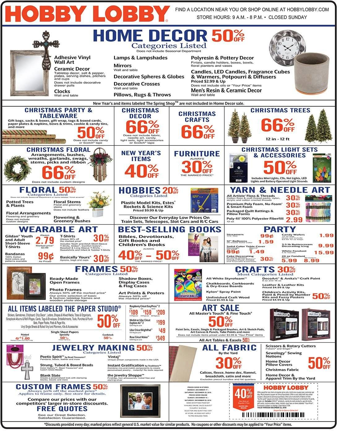Hobby Lobby Flyer  - 12.16.2018 - 12.22.2018. Page 1.
