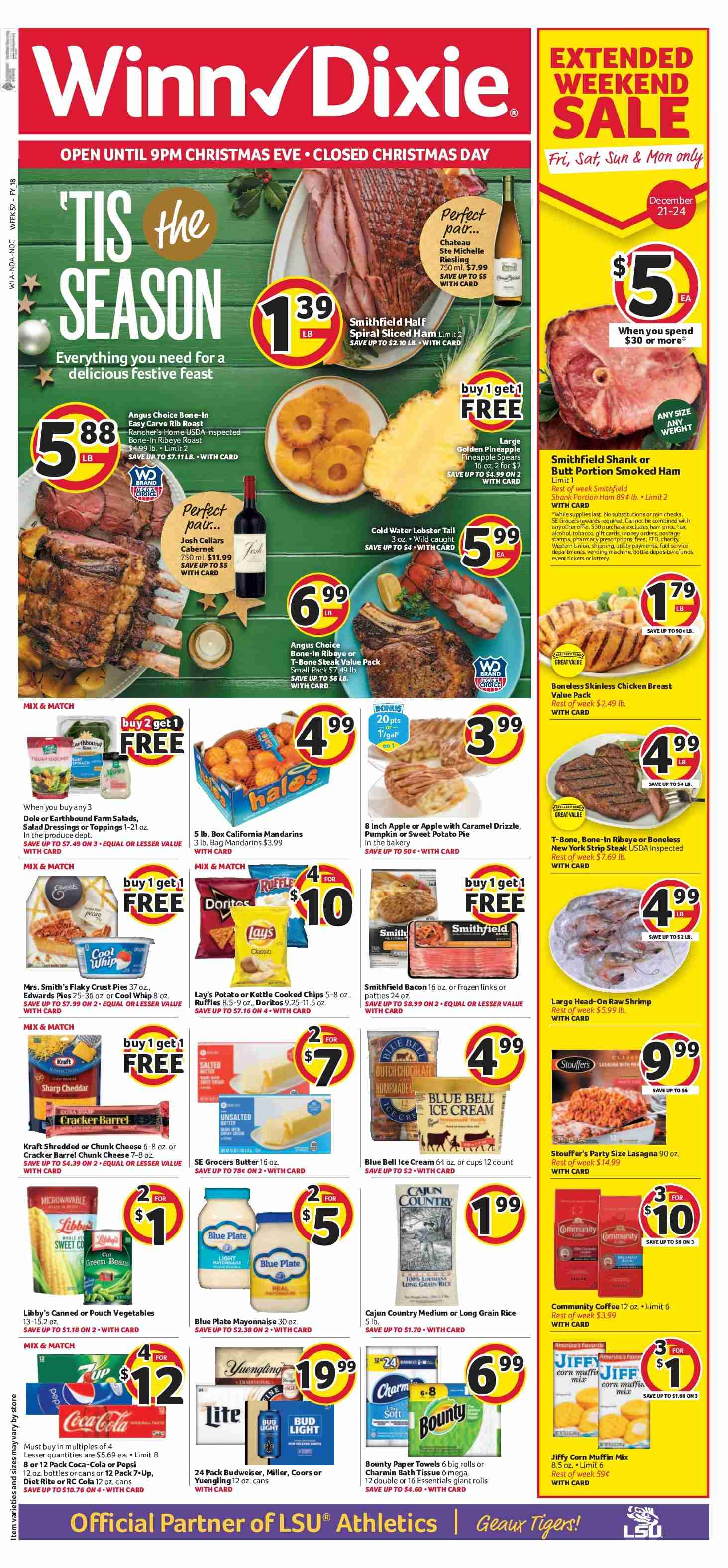 Winn Dixie Flyer  - 12.19.2018 - 12.24.2018. Page 1.