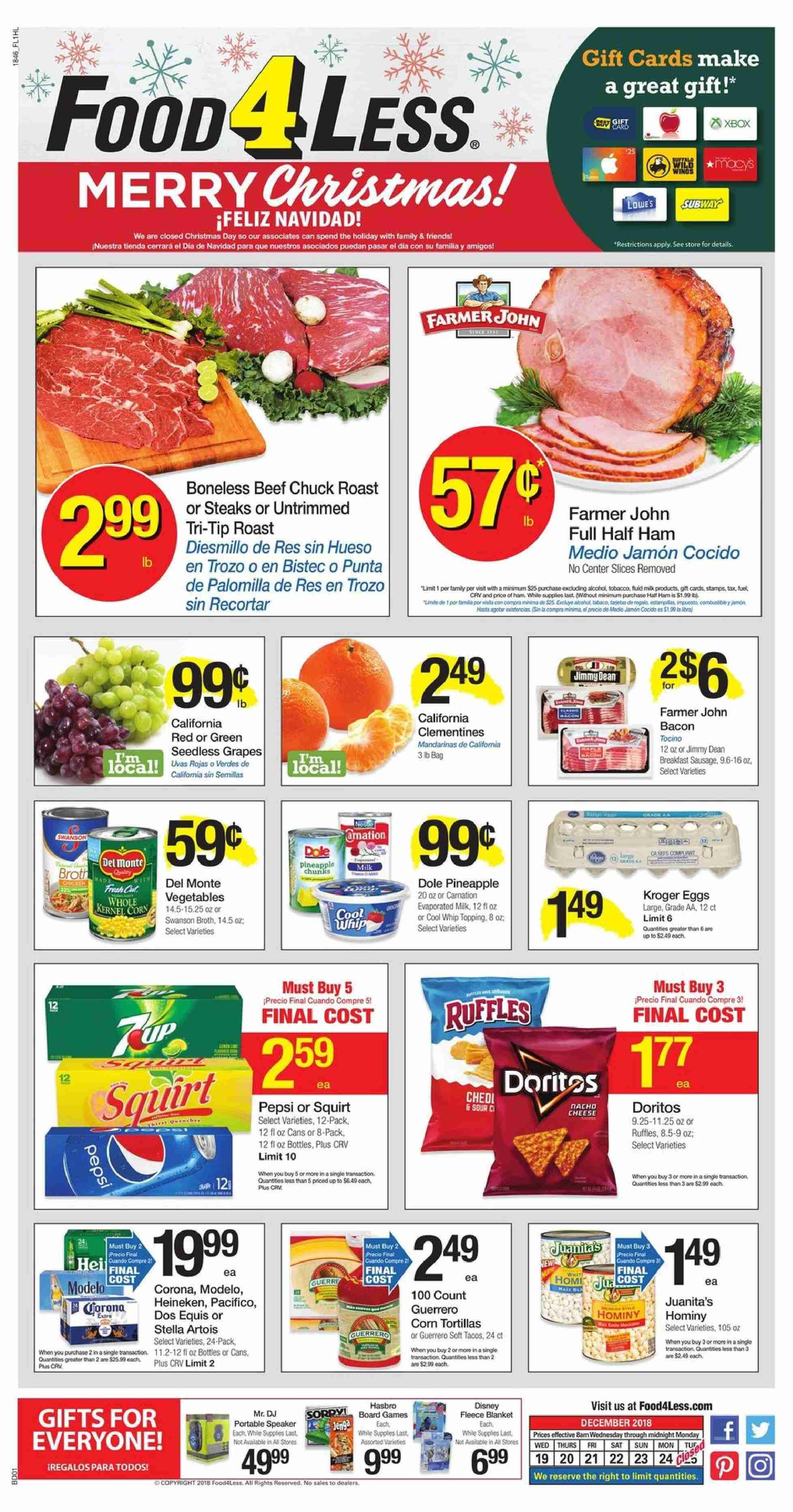 Food 4 Less Flyer - 12.19.2018 - 12.24.2018 - Sales products - Stella Artois, corn, grapes, seedless grapes, tortillas, ham, sausage, cheese, evaporated milk, Cool Whip, corn tortillas, Doritos, topping, Pepsi, beef meat, half ham, speaker. Page 1.