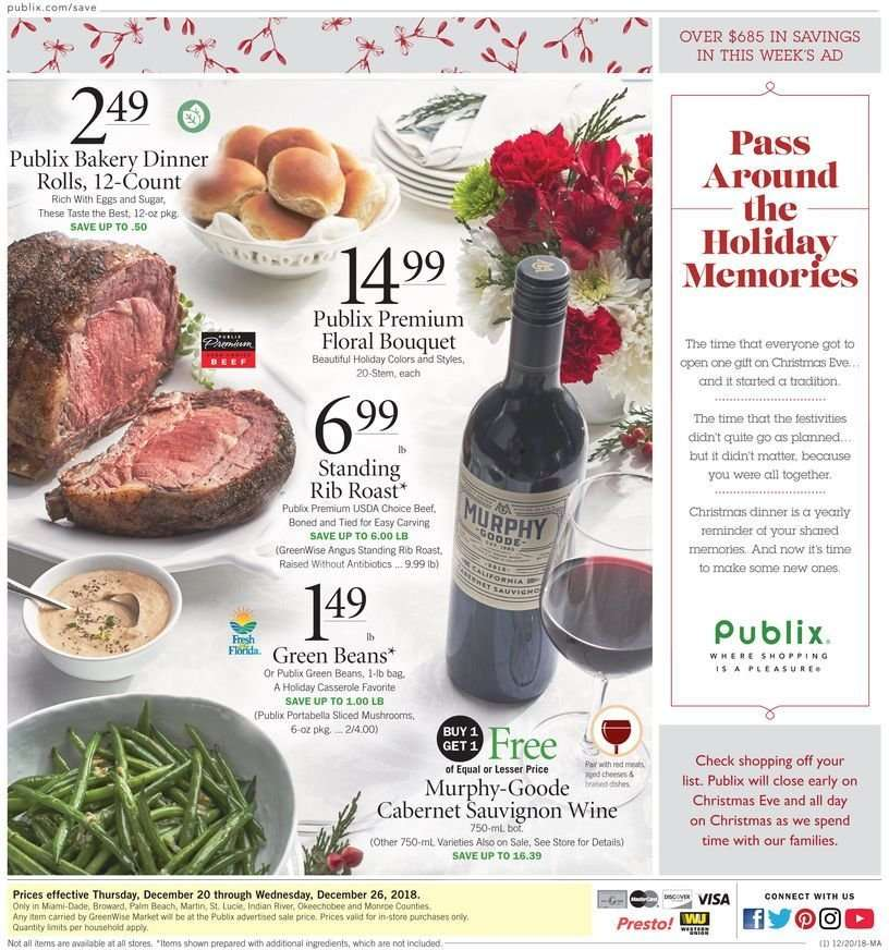 Publix Christmas Eve Hours.Publix Flyer 12 20 2018 12 26 2018 Weekly Ads Us
