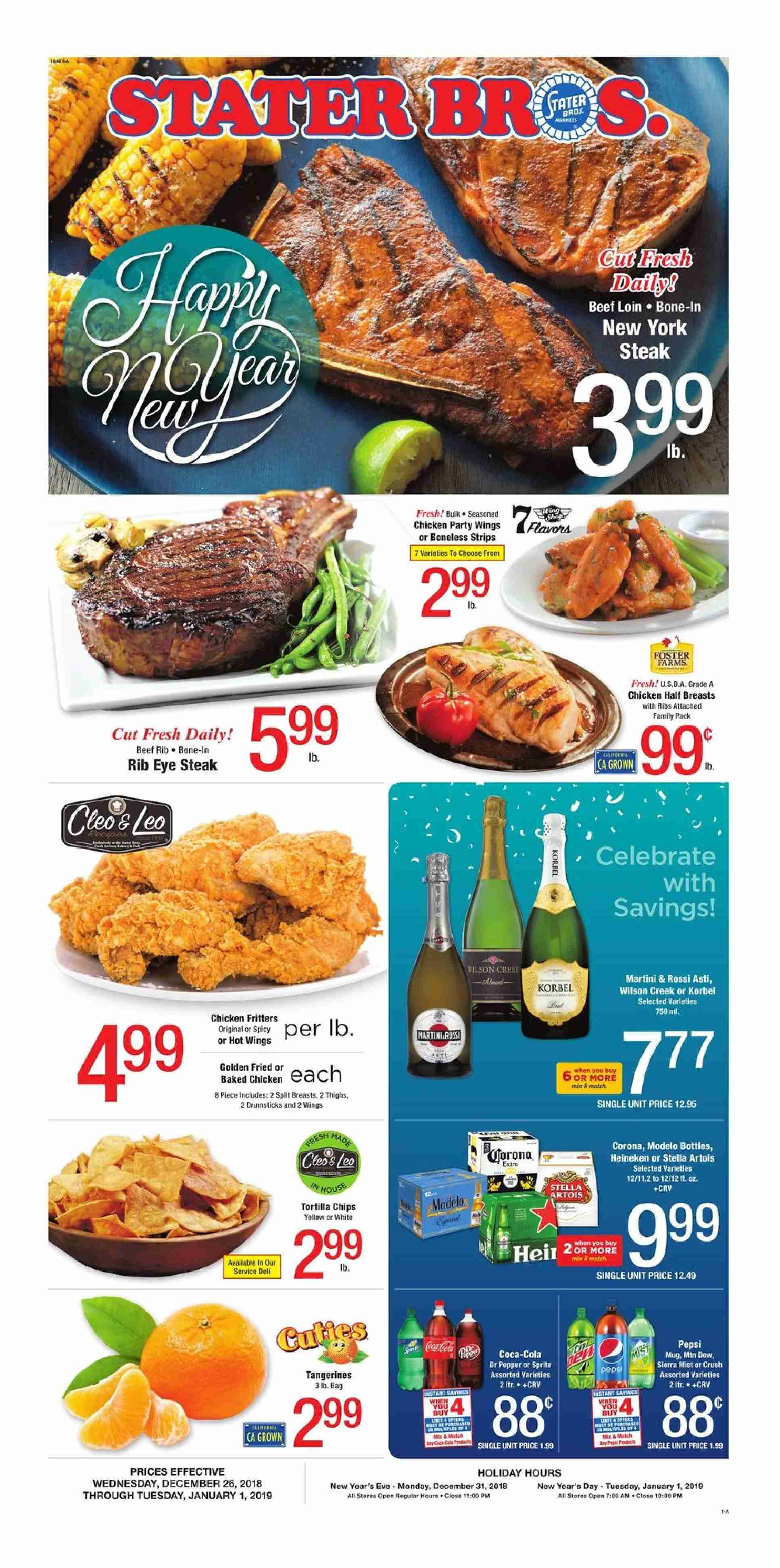 Stater Bros. Flyer  - 12.26.2018 - 01.01.2019. Page 1.