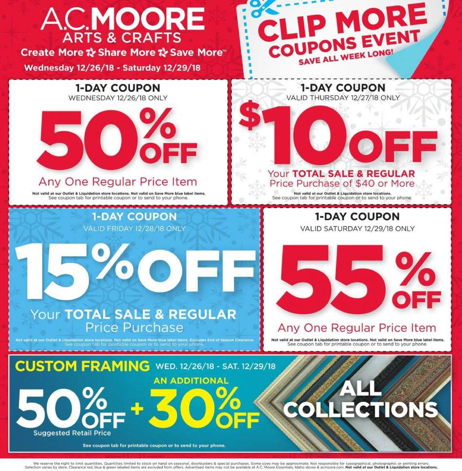 picture about Ac Moore Printable Coupon known as A.C. Moore flyer 12.26.2018 - 12.29.2018