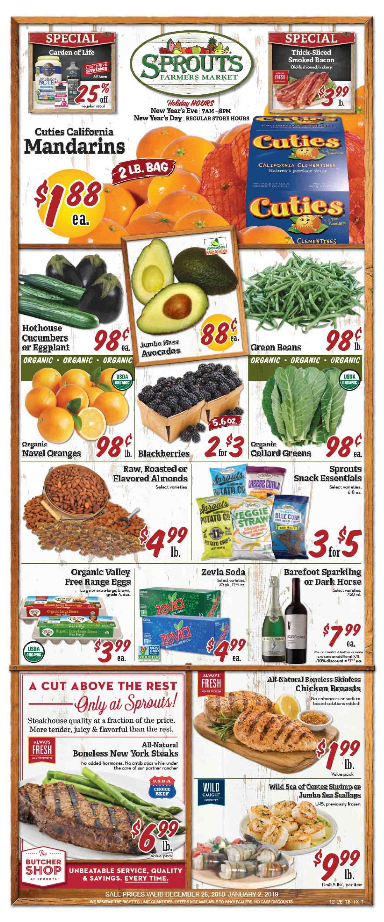 Sprouts Flyer  - 12.26.2018 - 01.02.2019. Page 1.