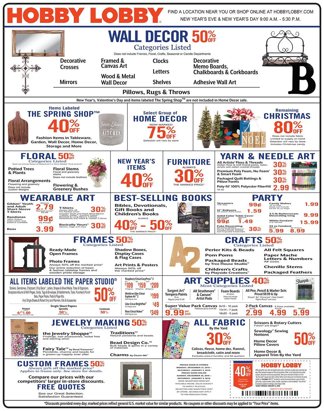Hobby Lobby Flyer  - 12.30.2018 - 01.05.2019. Page 1.