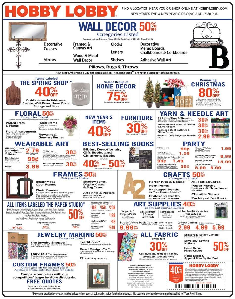 Hobby Lobby Flyer 12 30 2018 01 05 2019 Weekly Ads Us