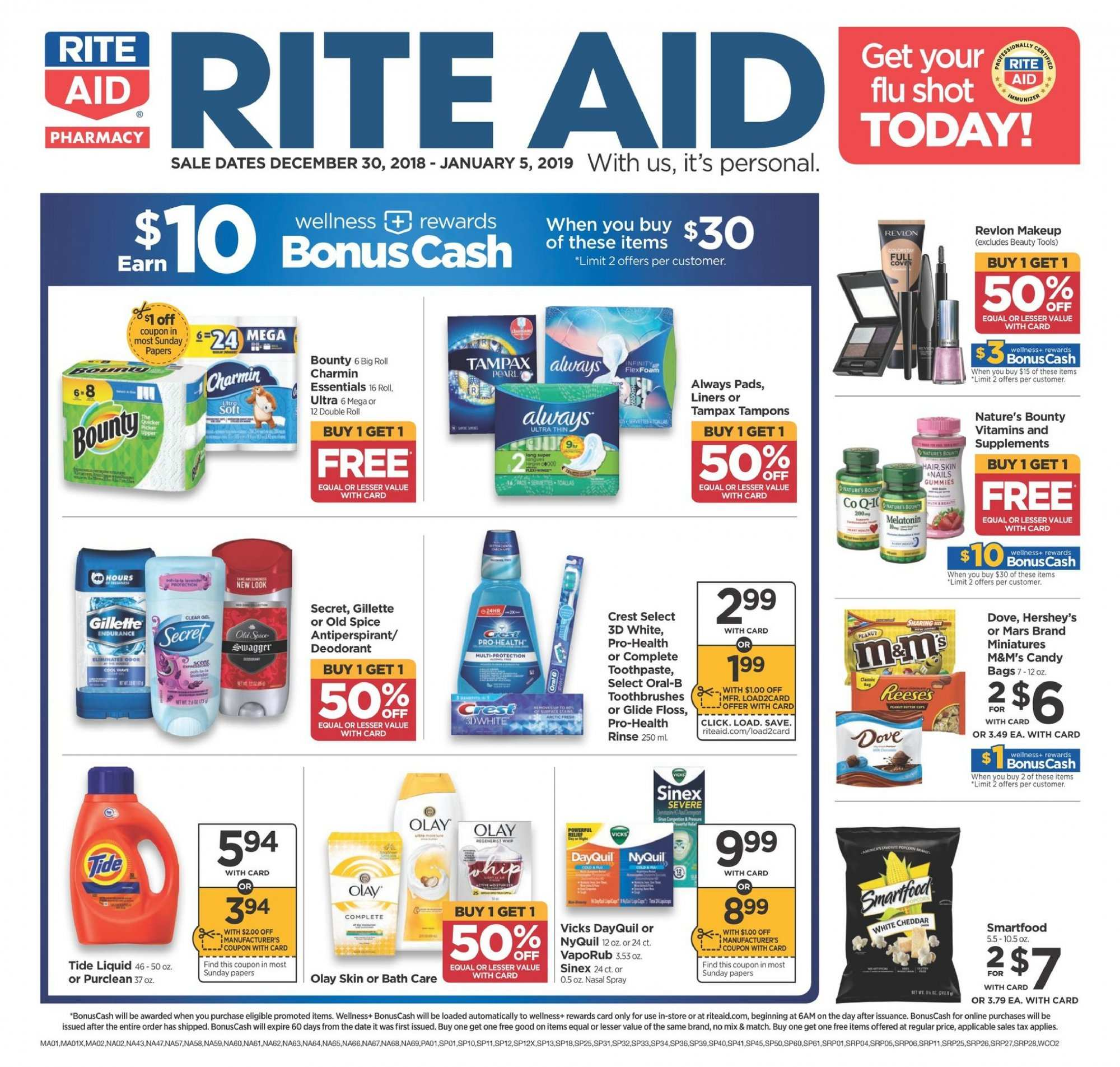 RITE AID Flyer - 12.30.2018 - 01.05.2019 - Sales products - always, bag, bath, crest, dates, deodorant, dove, gillette, makeup, nature's bounty, revlon, secret, spray, tampax, tide, nyquil, olay, old spice, pads, candy, toothpaste. Page 1.