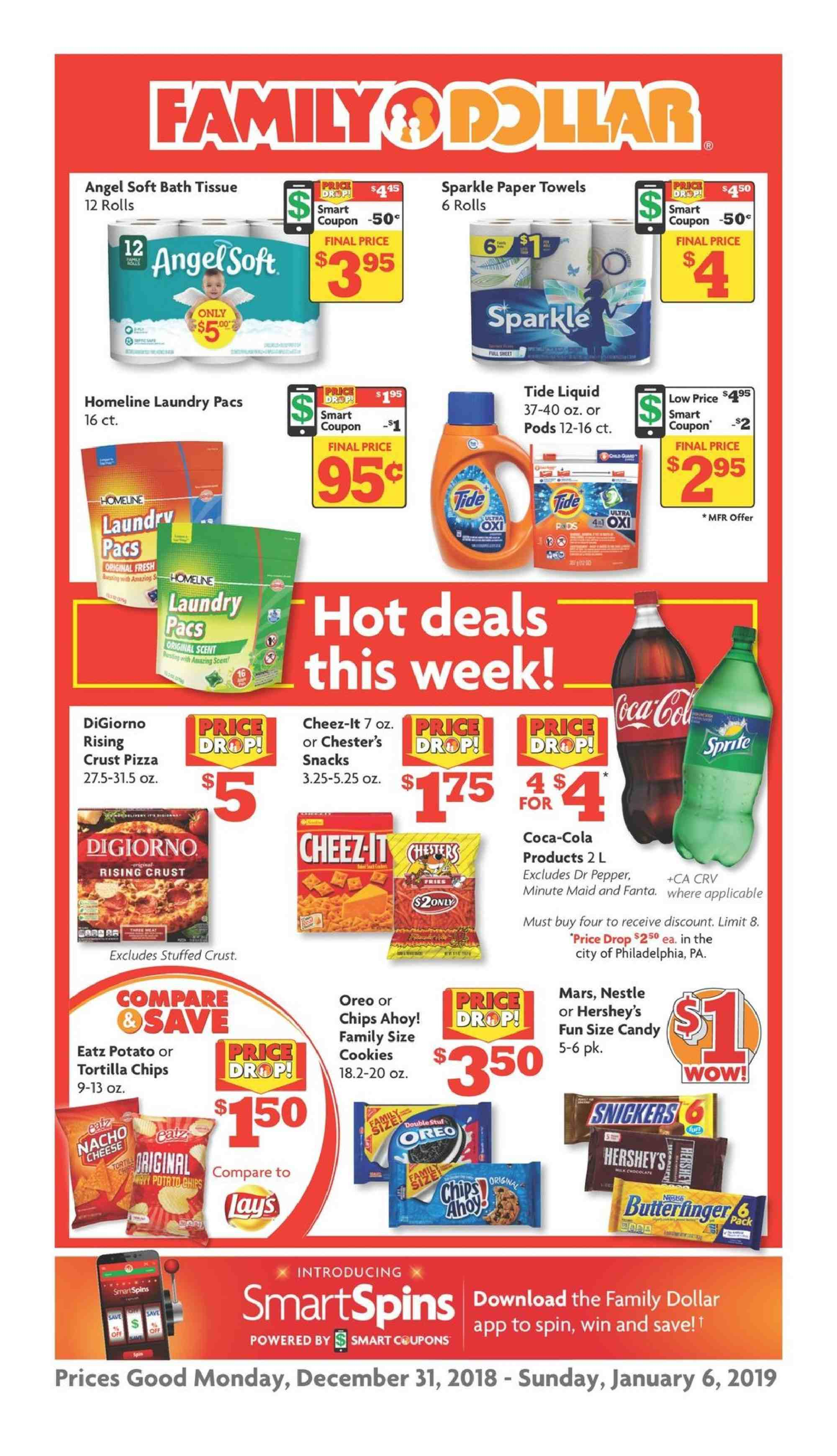 Family Dollar Flyer  - 12.31.2018 - 01.06.2019. Page 1.