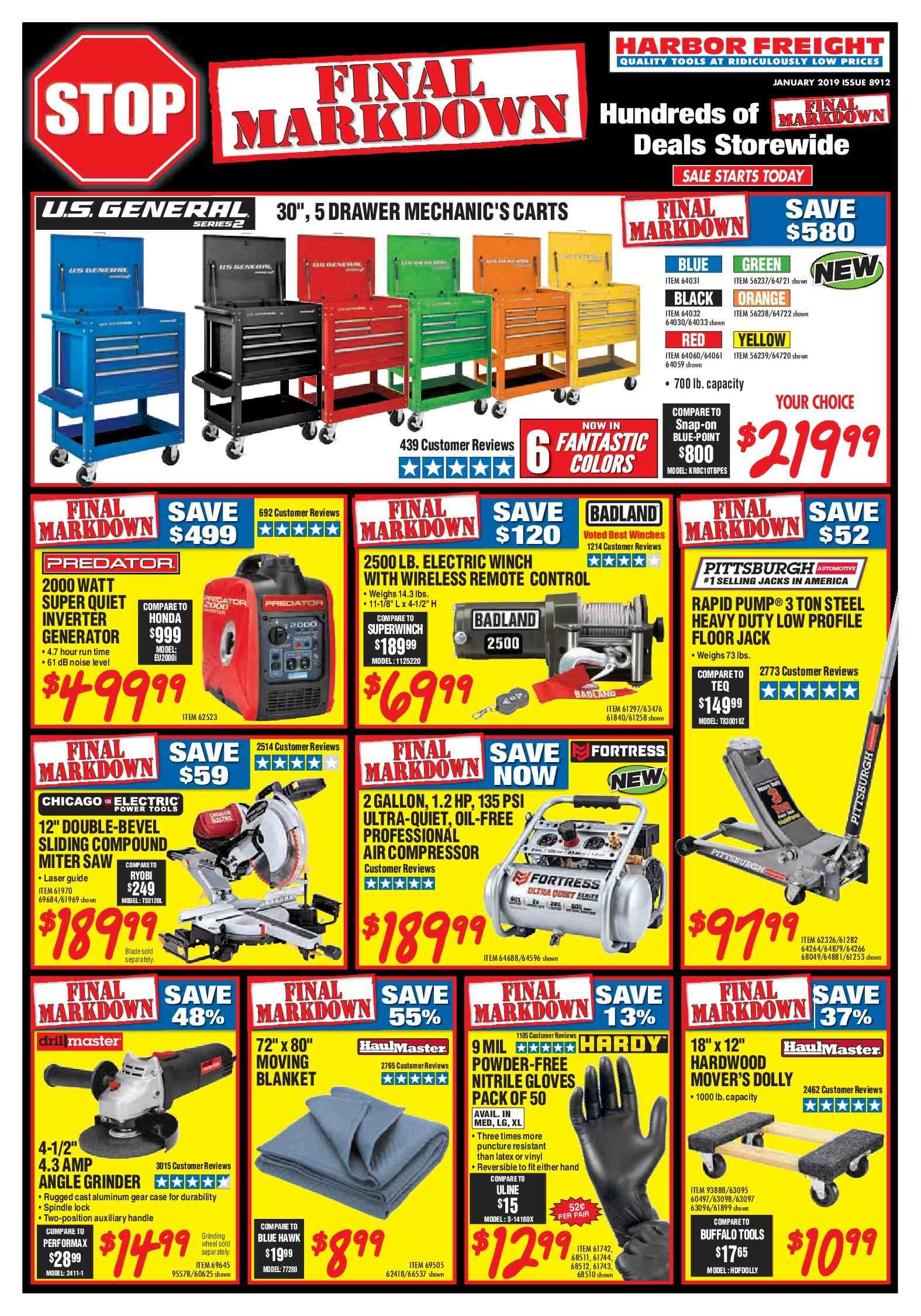 Harbor Freight Flyer - 01.01.2019 - 01.31.2019 - Sales products - air compressor, blanket, case, drawer, floor jack, gloves, remote control, handles, powder, predator, performax, power tools, wireless, grinder. Page 1.