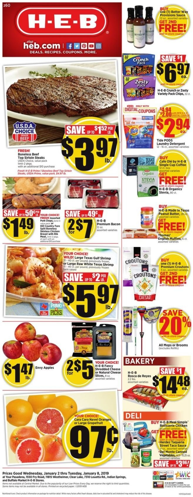 H-E-B Flyer  - 01.02.2019 - 01.08.2019. Page 1.