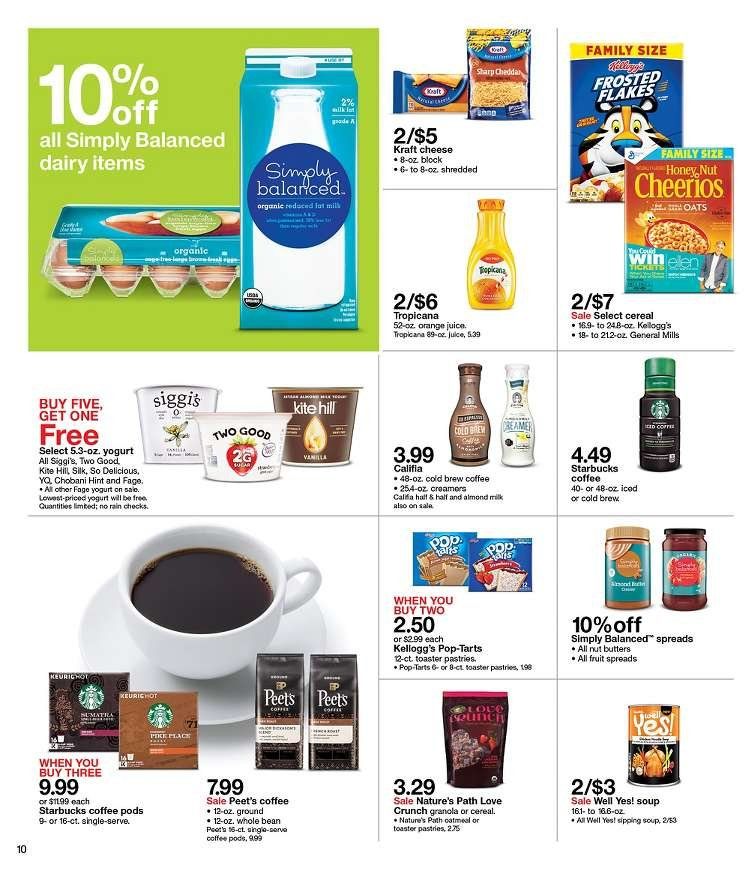 Target Flyer - 01.06.2019 - 01.12.2019 - Sales products - almond milk, cereals, coffee, coffee pods, granola, milk, starbucks, yogurt, cheerios, organic, cheese, juice, soup, cereal, toaster, flakes. Page 10.