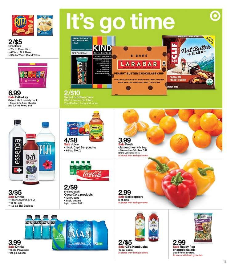 Target Flyer - 01.06.2019 - 01.12.2019 - Sales products - bag, bell peppers, bittersweet chocolate, box, butter, capri sun, clementines, coca-cola, crackers, lara, sugar, powerade, cheetos, peanut butter, peanuts, nutrition bars, chocolate, juice, salt, ritz, nuts. Page 11.