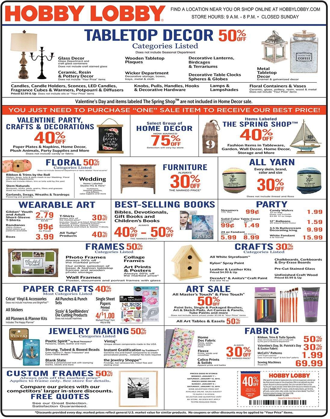 Hobby Lobby Flyer  - 01.06.2019 - 01.12.2019. Page 1.