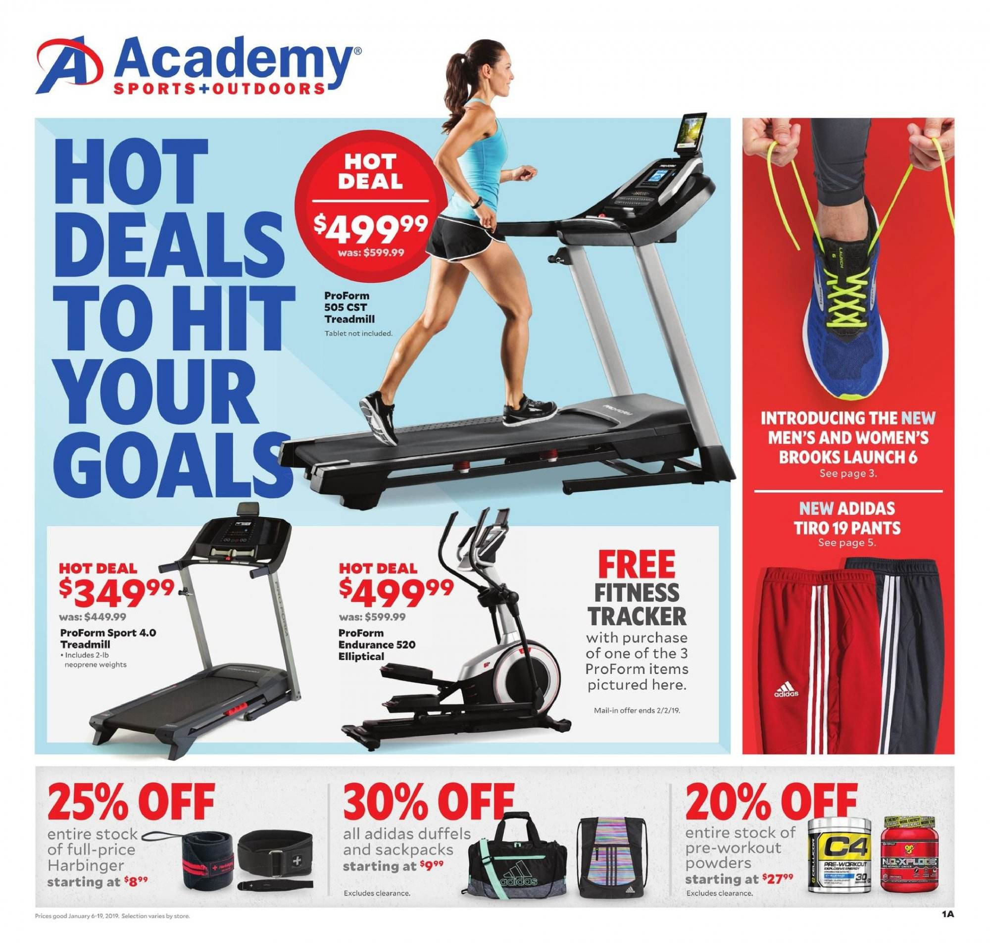 Academy Sports Flyer - 01.06.2019 - 01.19.2019 - Sales products - adidas, brooks, tablet, proform, pants, neoprene. Page 1.