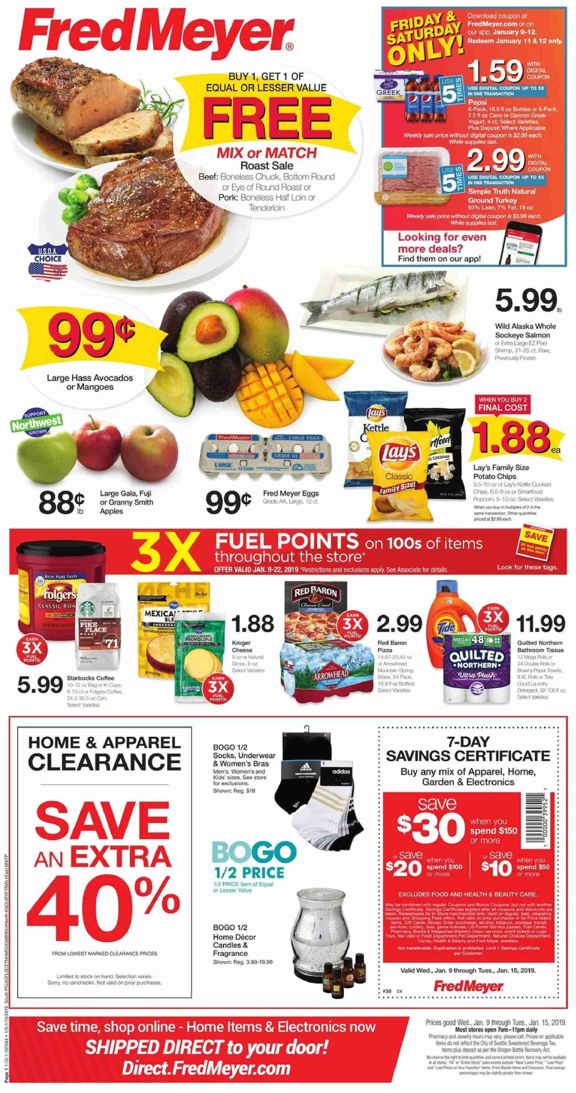 Fred Meyer Flyer - 01.09.2019 - 01.15.2019 - Sales products - apparel, avocado, beef meat, bottom, bra, candle, coffee, door, eggs, fuel, mango, shrimp, starbucks, pet, pizza, pork meat, potato chips, chips, toys, candy, game, jewelry. Page 1.