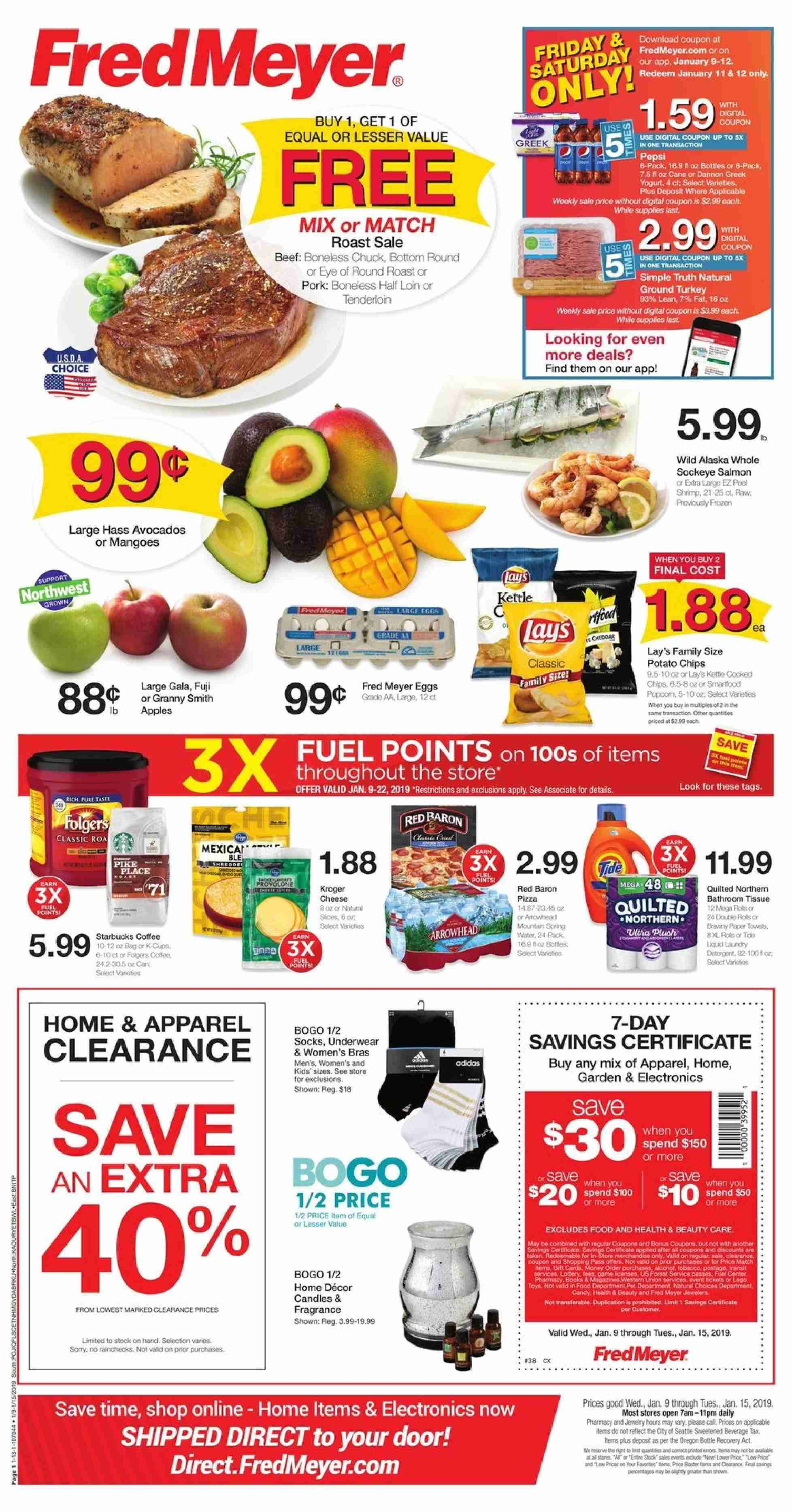 Fred Meyer Flyer - 01.09.2019 - 01.15.2019 - Sales products - apparel, avocado, beef meat, bottle, bottom, bra, candle, door, eggs, fragrance, fuel, mango, socks, tee, towel, underwear, pork meat, potato chips, paper towel, chips, candy, game, paper, jewelry, quilted northern. Page 1.