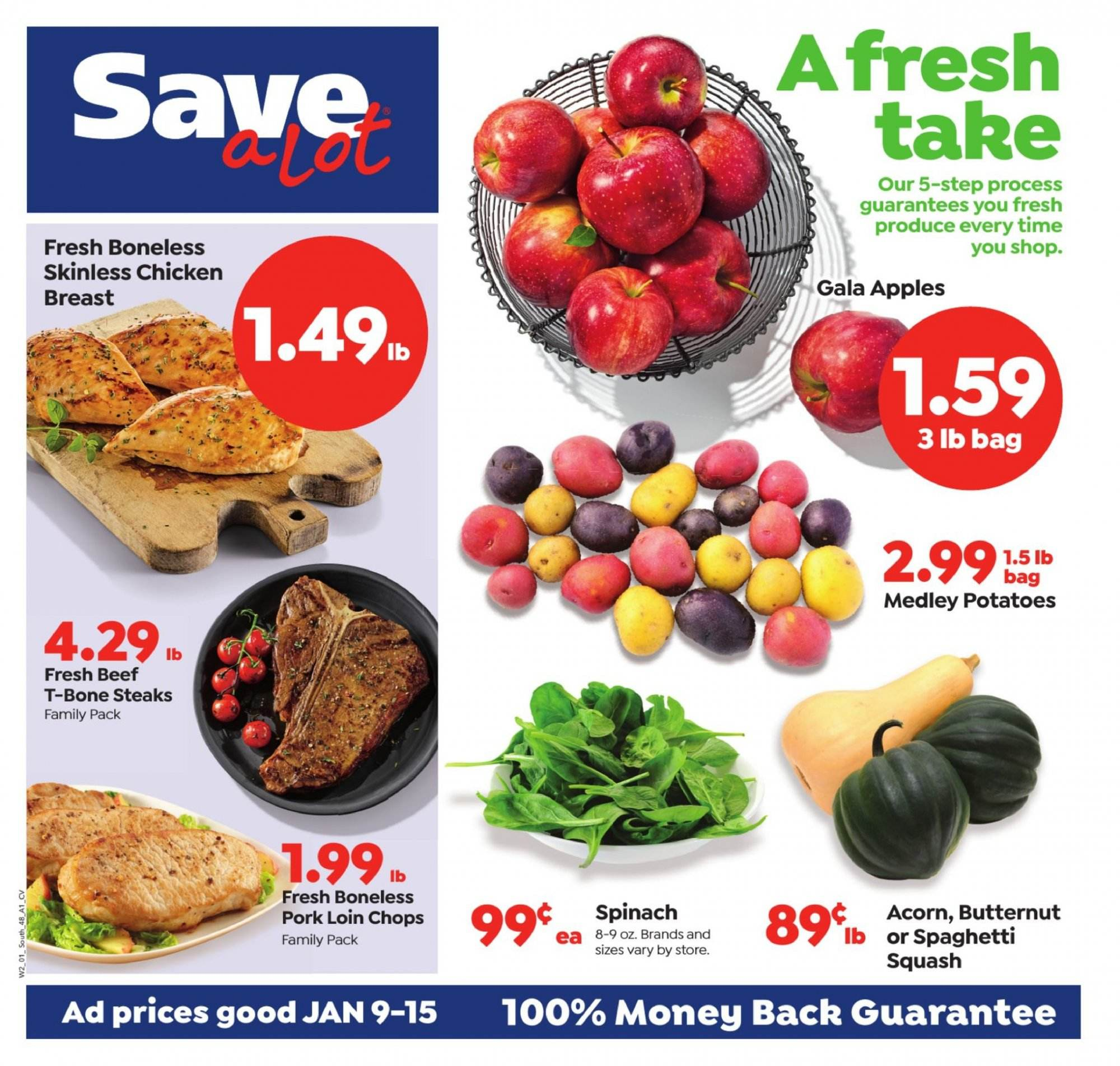 Save a Lot Flyer - 01.09.2019 - 01.15.2019 - Sales products - apple, bag, beef meat, butternut squash, gala apples, spaghetti, spinach, squash, t-bone steak, pork loin, pork meat, potatoes, chicken, chicken breast. Page 1.