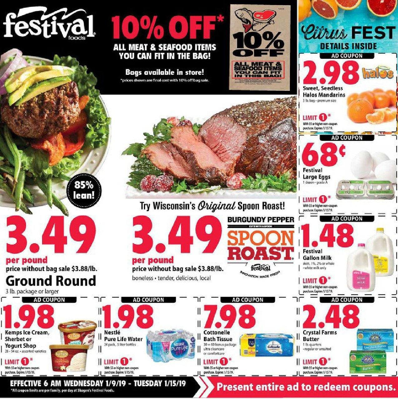 Festival Foods Flyer - 01.09.2019 - 01.15.2019 - Sales products - bag, bath, bath tissue, butter, cottonelle, cream, eggs, milk, nestlé, spoon, yogurt, ice cream, water, pepper, sherbet, sweet. Page 1.