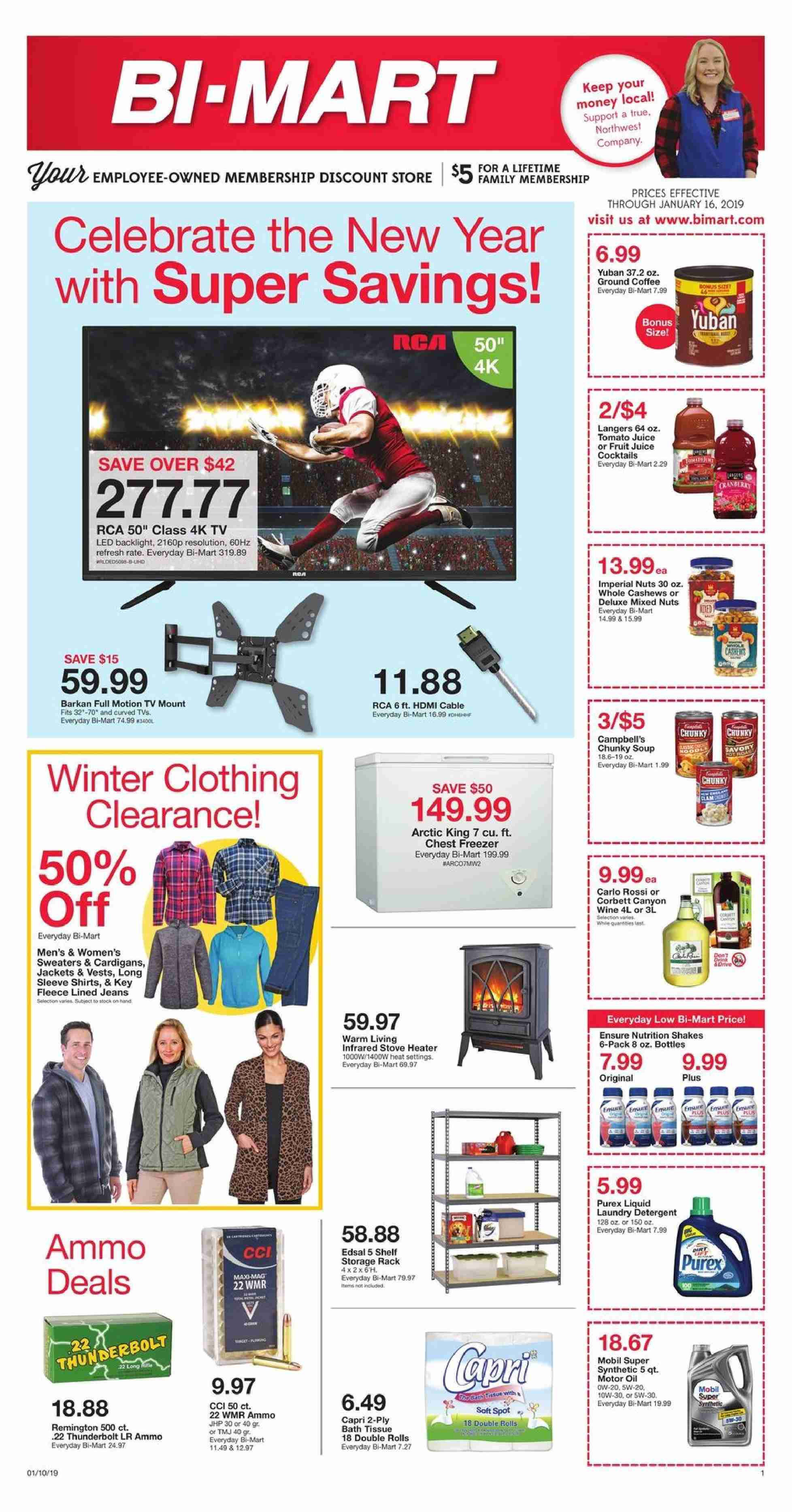 Bi-Mart Flyer - 01.10.2019 - 01.16.2019 - Sales products - heater. Page 1.