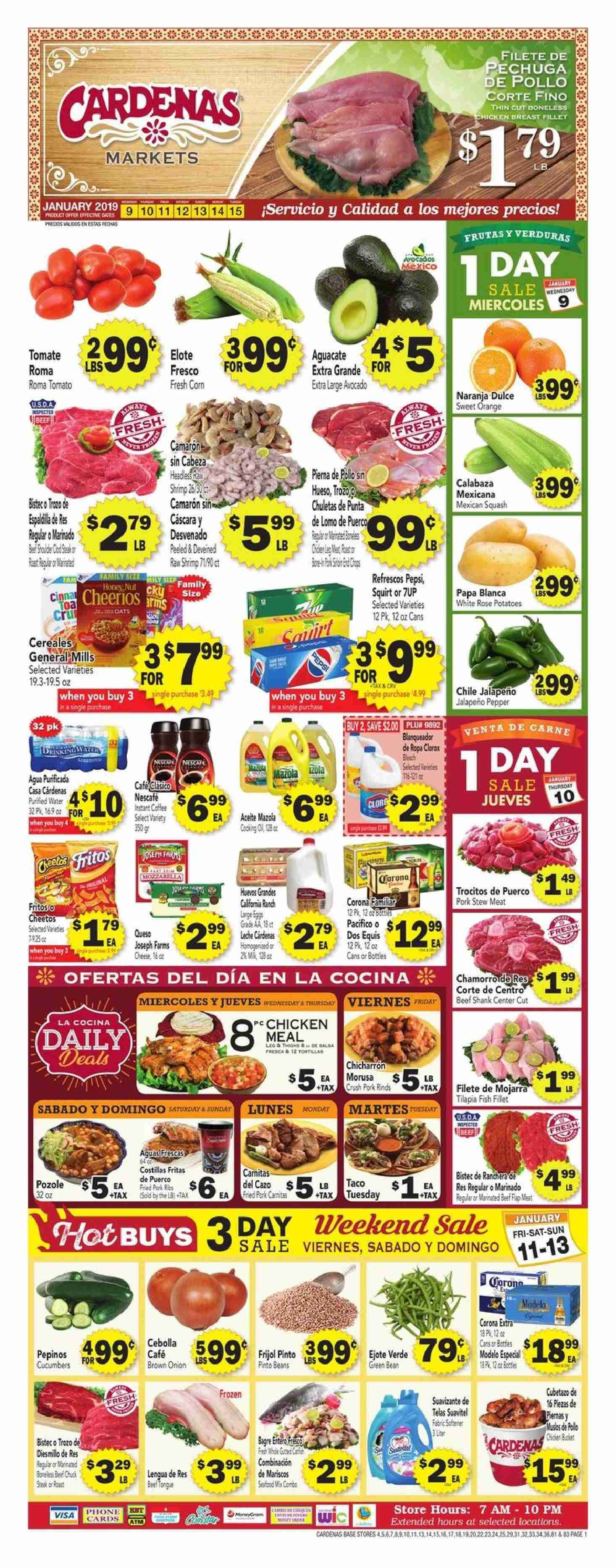Cardenas Flyer - 01.09.2019 - 01.15.2019 - Sales products - beans, beef meat, corn, shrimp, pinto beans, pork meat, potatoes, cheerios, chicken, pepsi, onion, water. Page 1.