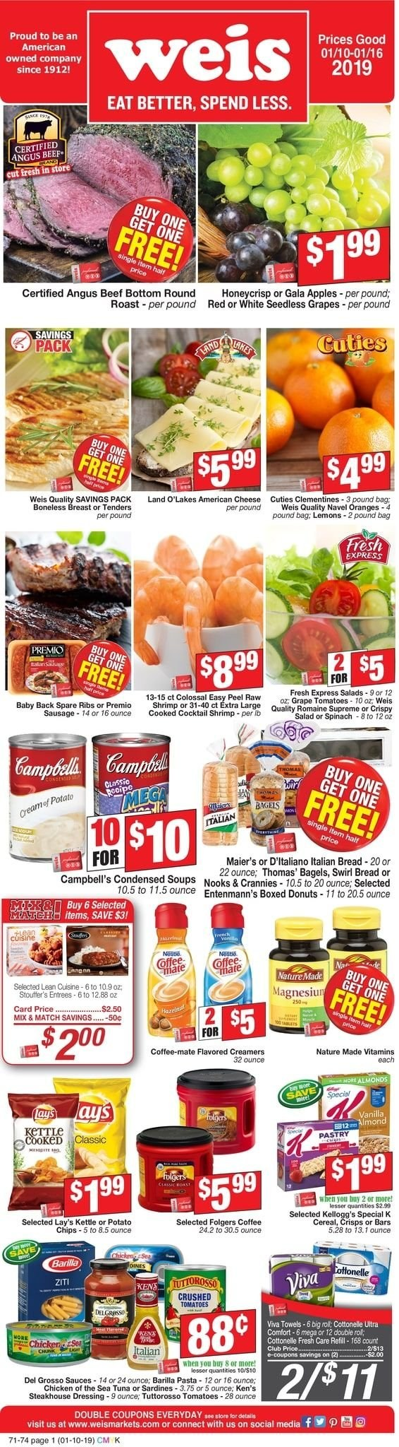 Weis Flyer - 01.10.2019 - 01.16.2019 - Sales products - american cheese, apple, baby back pork ribs, bag, bagels, beef meat, bottom, bread, campbell's, cereals, clementines, coffee, coffee-mate, cottonelle, crushed tomatoes, gala apples, grapes, lemons, mate, nature made, navel oranges, sardines, sausage, seedless grapes, shrimp, spinach, tomatoes, towel, tuna, chicken, oranges, pork spare ribs, cheese, dressing, donuts, cereal, pasta, lay's, salad, ribs. Page 1.