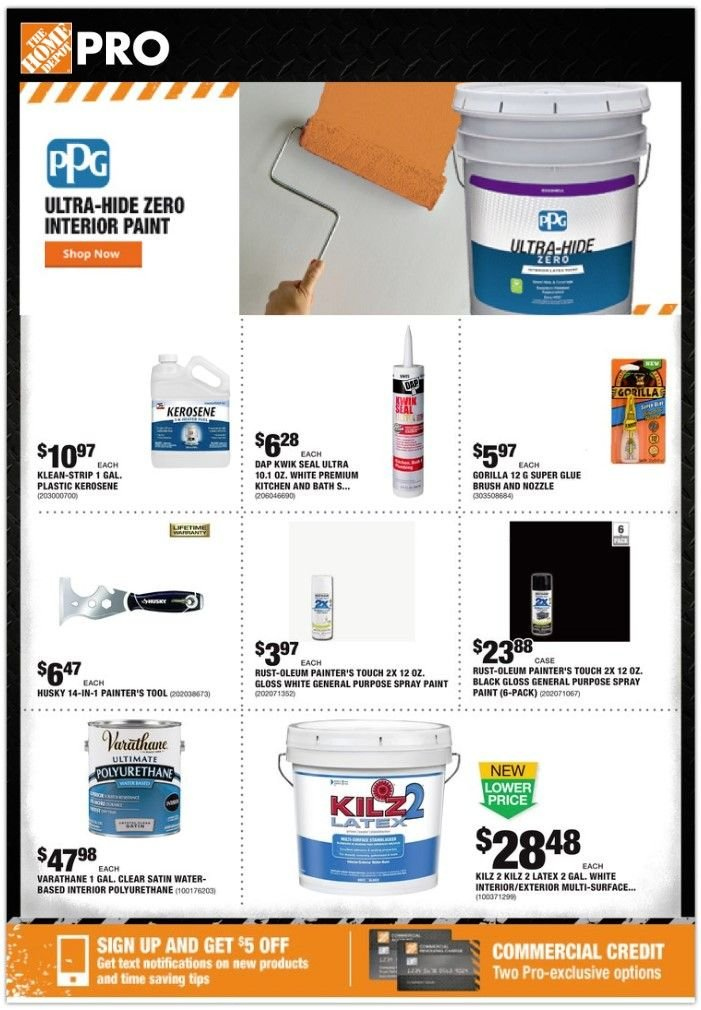 The Home Depot Flyer - 01.07.2019 - 01.14.2019 - Sales products - bath, brush, spray, spray paint, surface, kitchen, water, glue. Page 1.