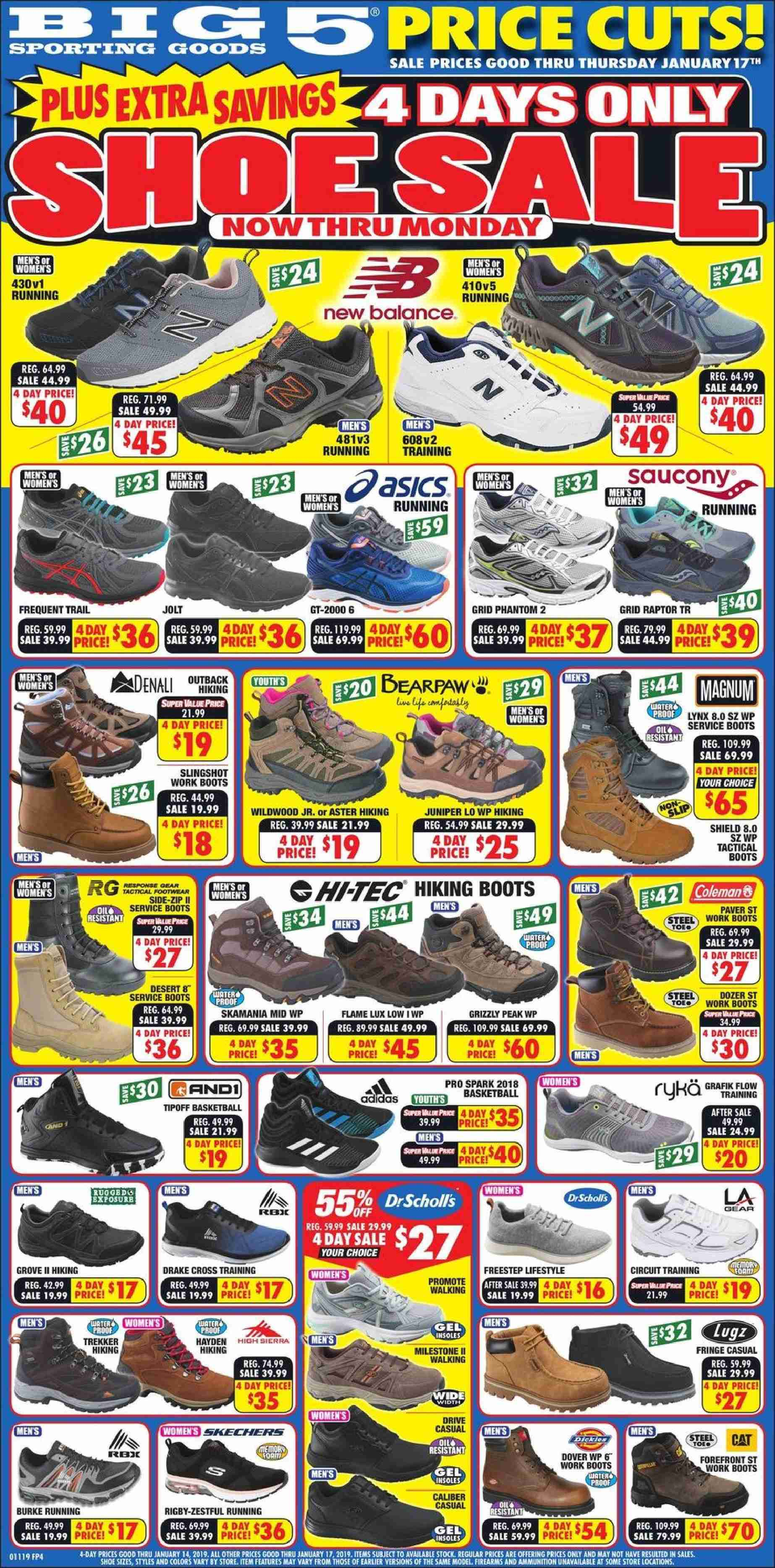 Big 5 Flyer - 01.11.2019 - 01.14.2019 - Sales products - ale, bearpaw, boots, new balance, tec, work boots, hi-tec, footwear, basketball. Page 1.