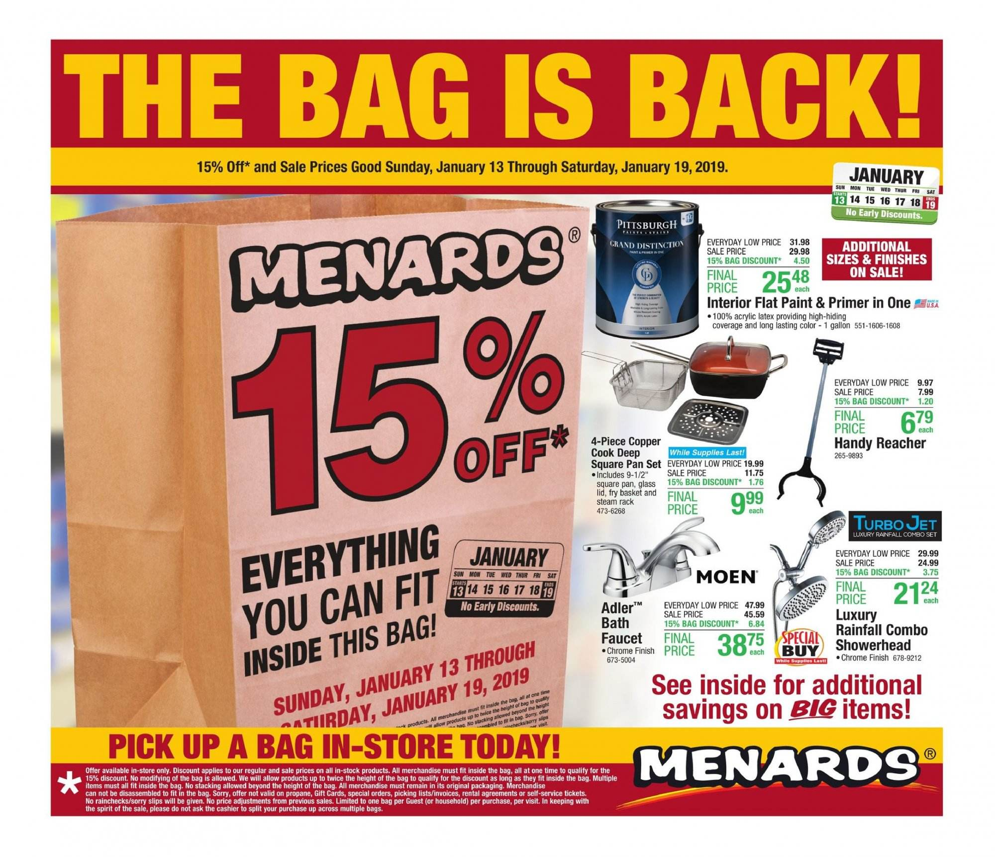 Menards Flyer - 01.13.2019 - 01.19.2019 - Sales products - basket, bath, bic, faucet, glass, grand, lid, rack, showerhead, pan. Page 1.