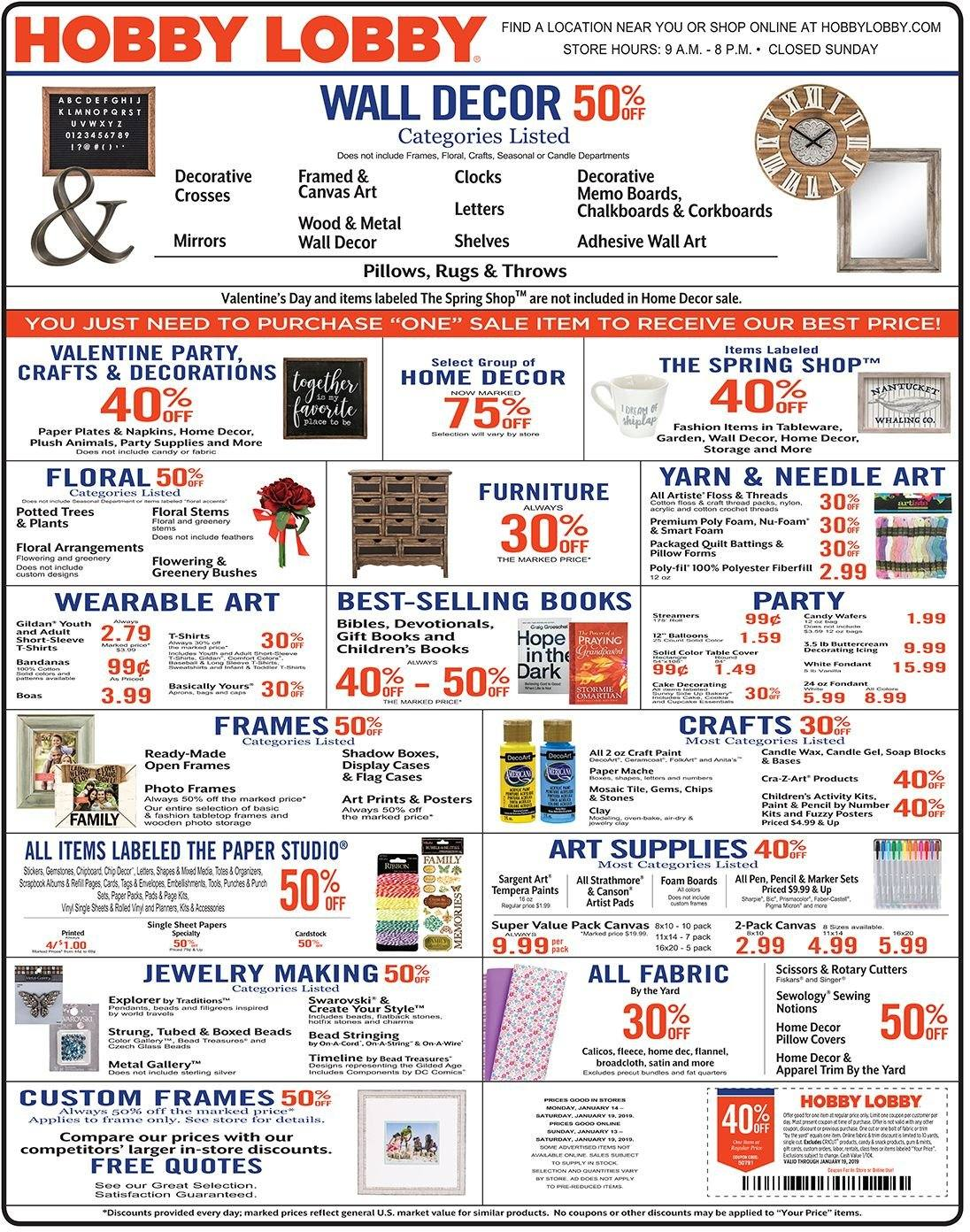 Hobby Lobby Flyer - 01.13.2019 - 01.19.2019 - Sales products - accessories, always, box, candle, cotton, cover, flannel, foam, frame, rug, solid, storage, table, tableware, throw, wall decor, pillow, plate, quilt, pads, chips, paper plate, paper, jewelry, pen, marker. Page 1.