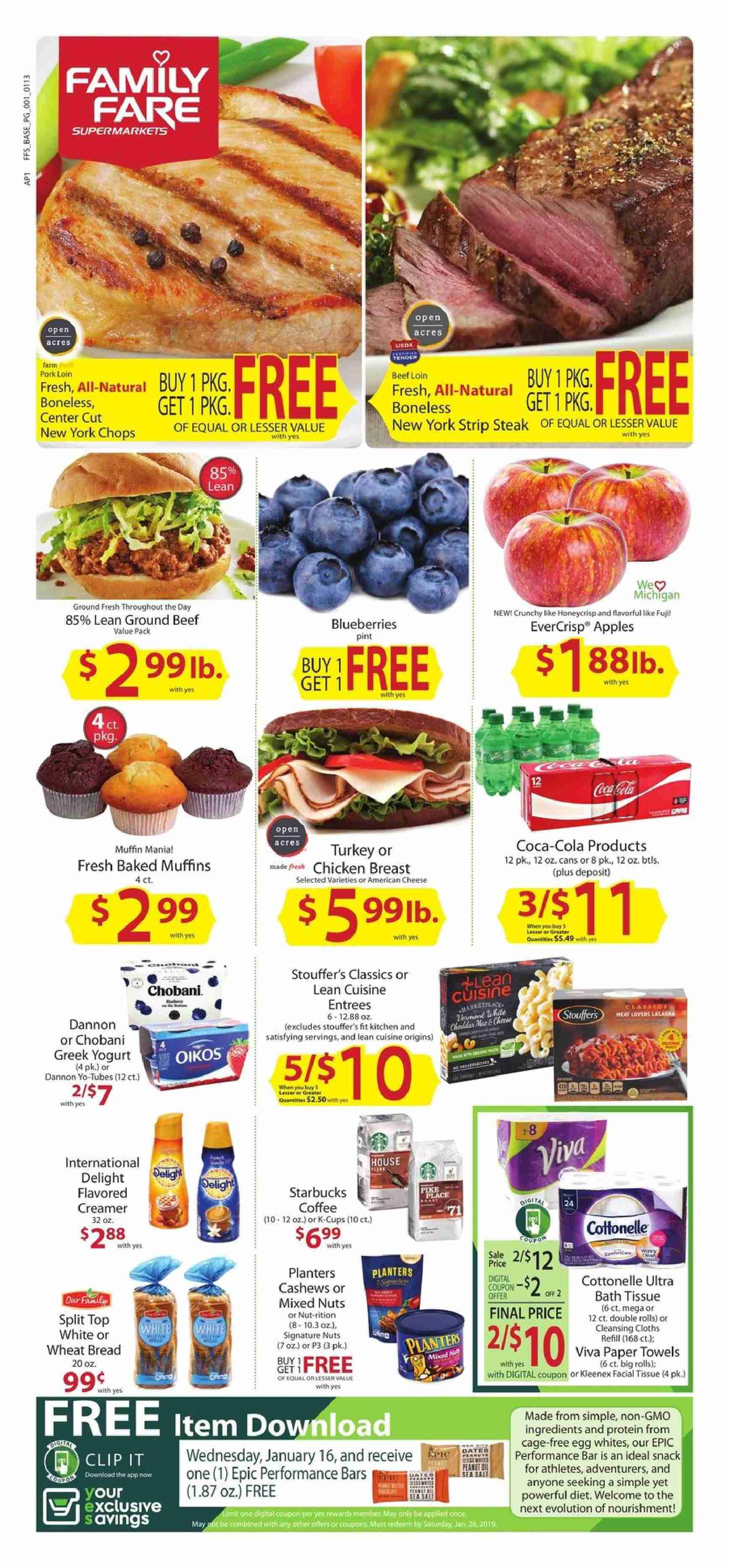 Family Fare Flyer - 01.13.2019 - 01.19.2019 - Sales products - american cheese, apple, bath, bath tissue, beef meat, blueberries, bread, cashews, coca-cola, cottonelle, greek yogurt, ground beef, muffins, starbucks, top, towel, turkey, wheat bread, yogurt, kitchen, pike, pork loin, pork meat, protein, paper towel, steak, cheese, paper, creamer, snack, bar, nuts. Page 1.