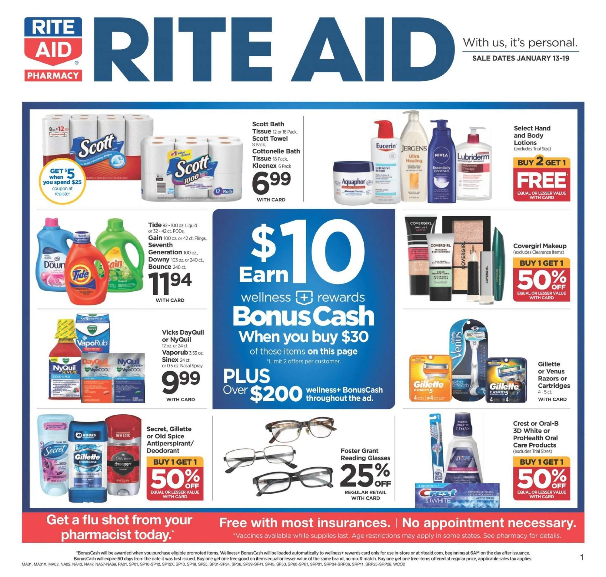 RITE AID Flyer - 01.13.2019 - 01.19.2019 - Sales products - bath, bath tissue, bounce, cottonelle, crest, dates, dayquil, deodorant, downy, eucerin, gain, gillette, kleenex, makeup, scott, secret, spray, tide, venus, nyquil, old spice, jergens. Page 1.