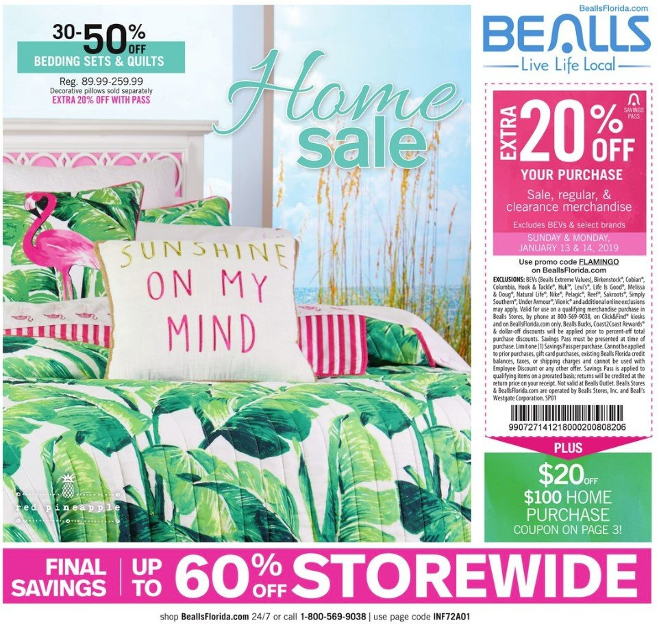 Bealls Florida Flyer - 01.13.2019 - 01.16.2019 - Sales products - bedding, columbia, flamingo, under armour, hook, pillow, quilt, nike, gift card. Page 1.