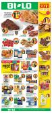 BI-LO Flyer - 01.16.2019 - 01.22.2019 - Sales products - baby back pork ribs, bacon, bath, bath tissue, beef meat, busch, butter, cod, cookies, crackers, cream, flounder, frozen, ground beef, rice, russet potatoes, strawberries, sugar, tilapia, yogurt, ice cream, pizza, pork loin, pork meat, pork shoulder, potatoes, pretzels, chicken, chicken breast, peanut butter, peanuts, pepsi, chips, steak, cheese, vegetable, pizza rolls, pasta, knorr, ribs.