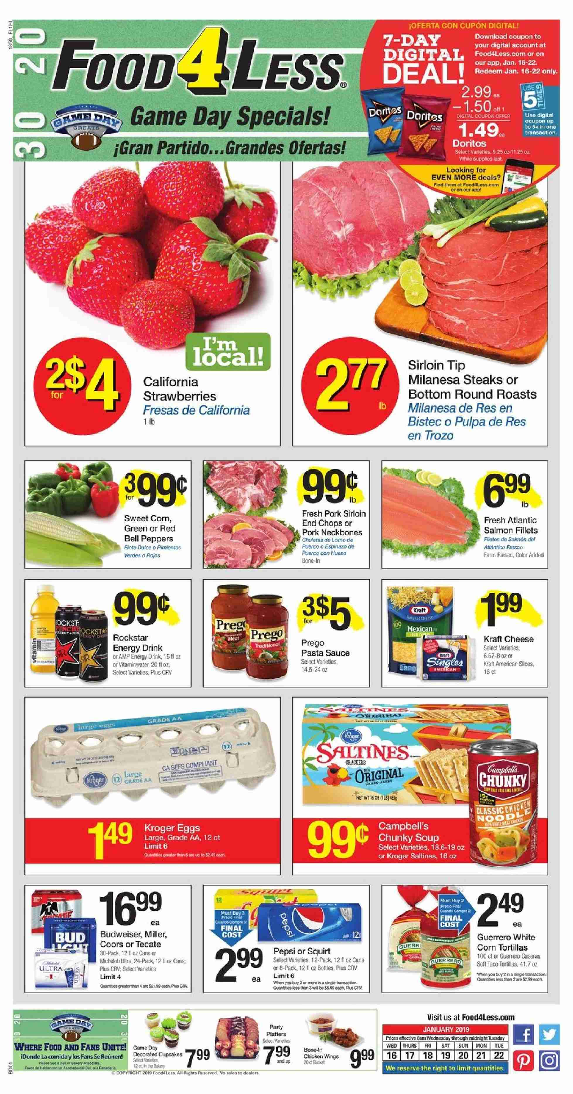 Food 4 Less Flyer  - 01.16.2019 - 01.22.2019. Page 1.