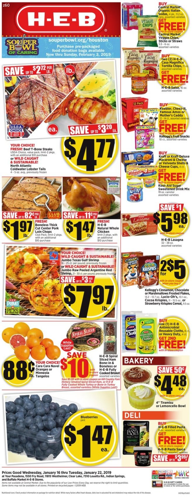 H-E-B Flyer  - 01.16.2019 - 01.22.2019. Page 1.